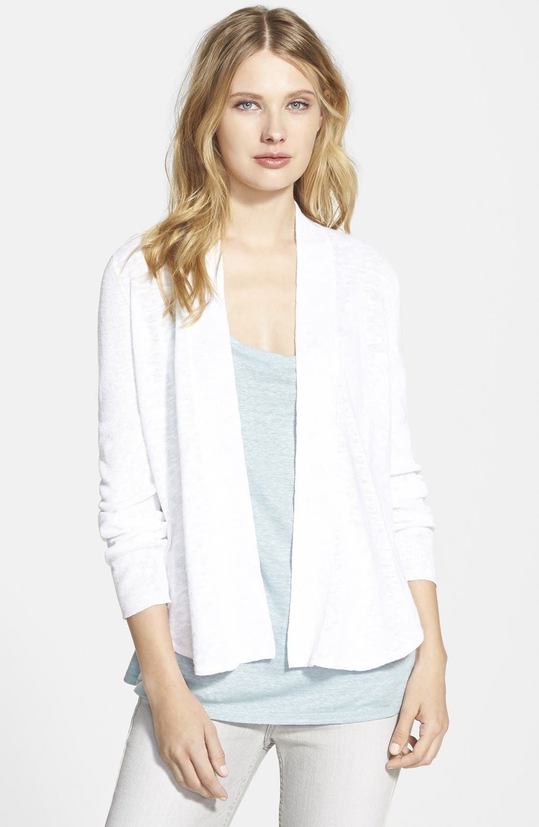 Alternate Image 1 Selected - Eileen Fisher Organic Linen & Cotton Shawl Collar Cardigan (Online Only)