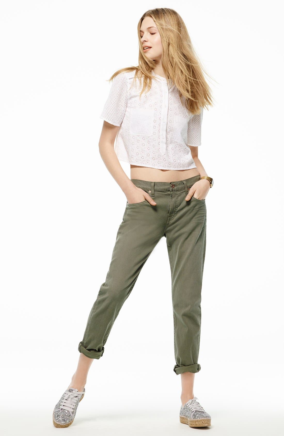 Alternate Image 5  - 7 For All Mankind® Relaxed Skinny Jeans (Fatigue)