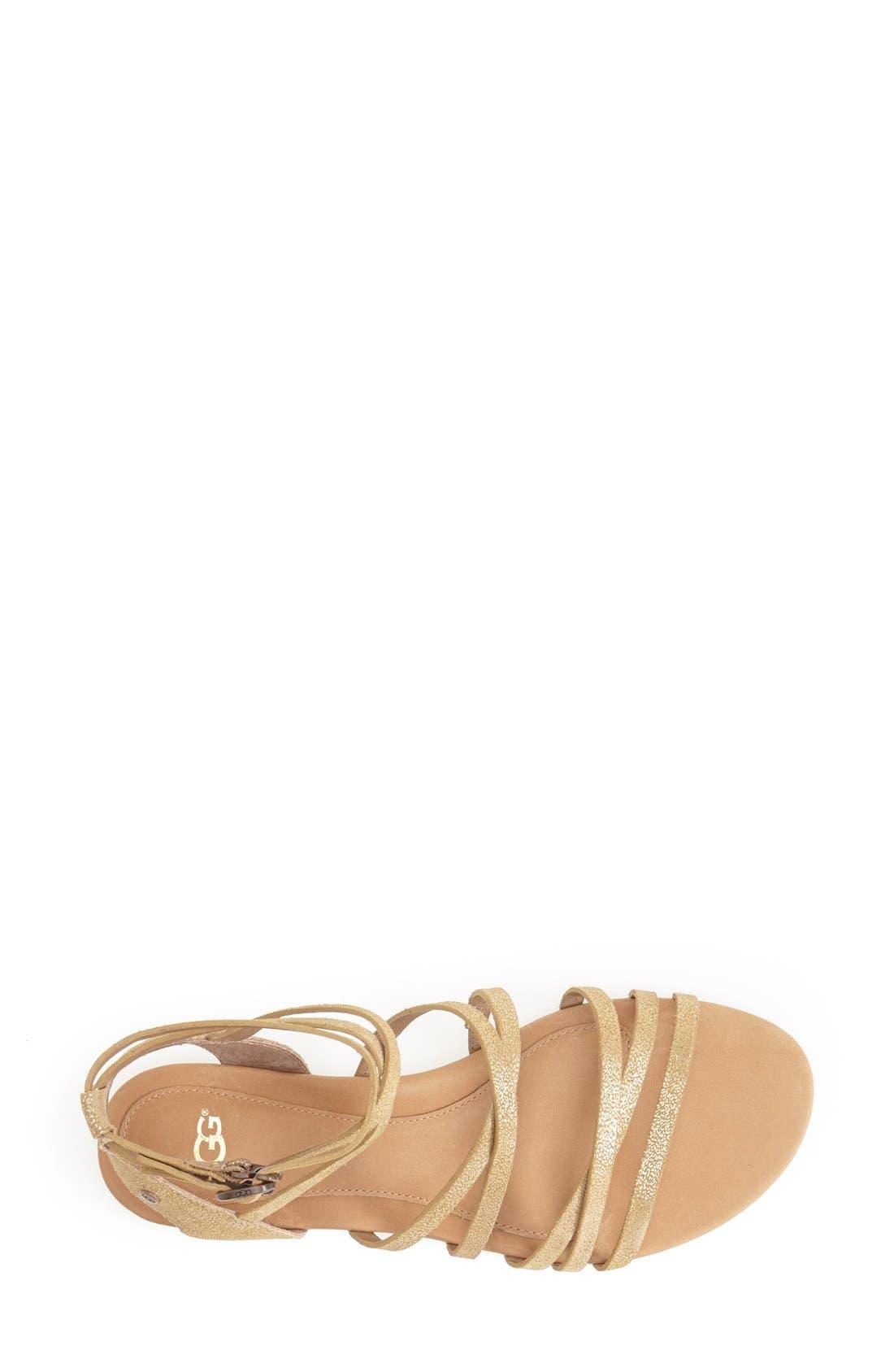 Alternate Image 3  - UGG® Australia 'Devie' Metallic Leather Sandal (Women)