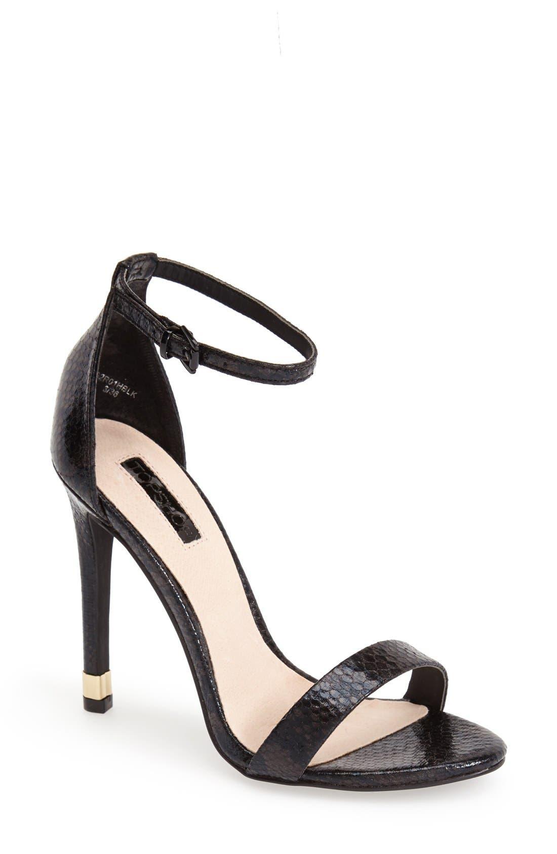Alternate Image 1 Selected - Topshop 'Ruby' Snake Embossed Ankle Strap Sandal (Women)