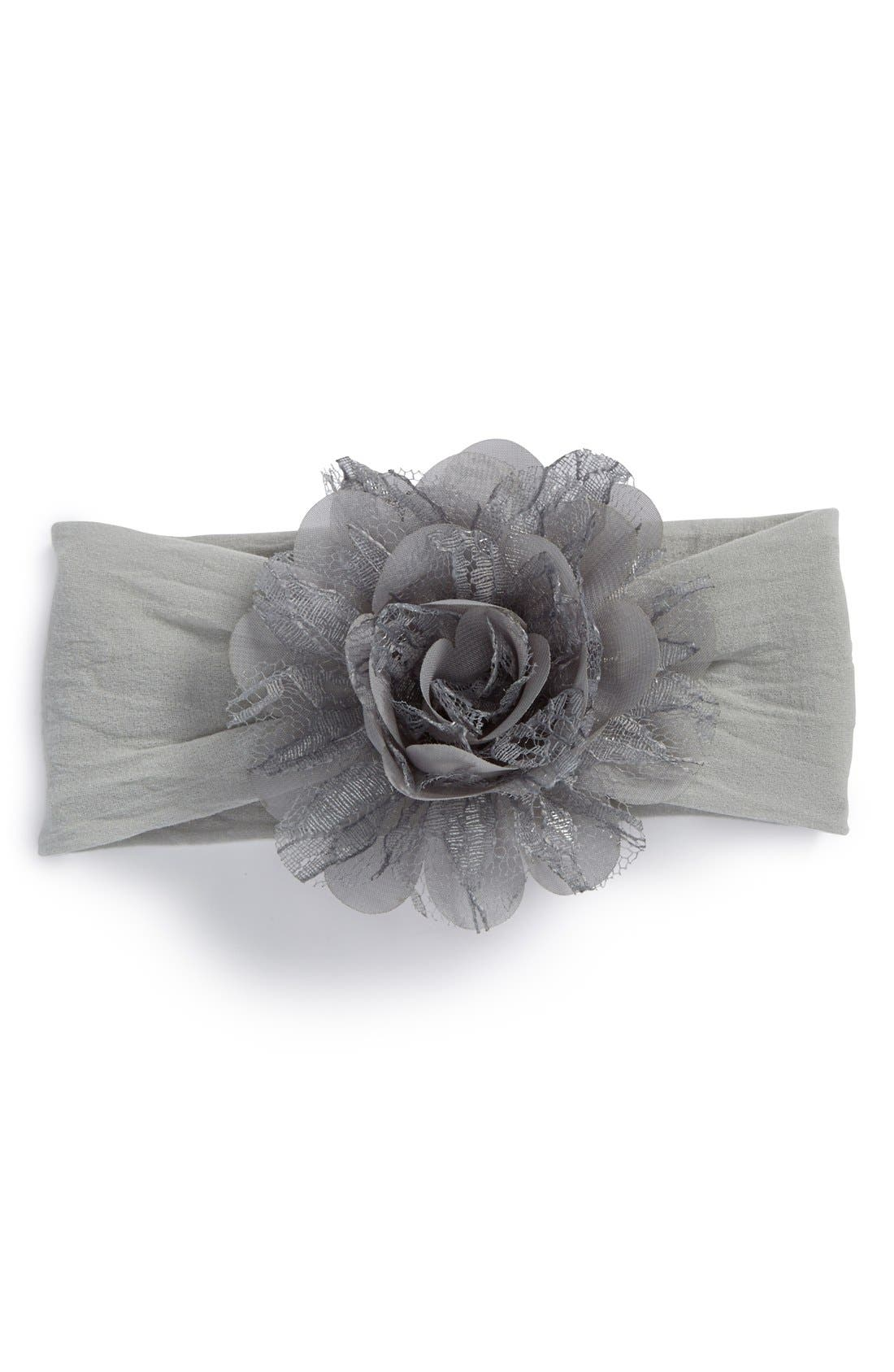 Alternate Image 1 Selected - Baby Bling Lace & Chiffon Flower Headband (Baby Girls)