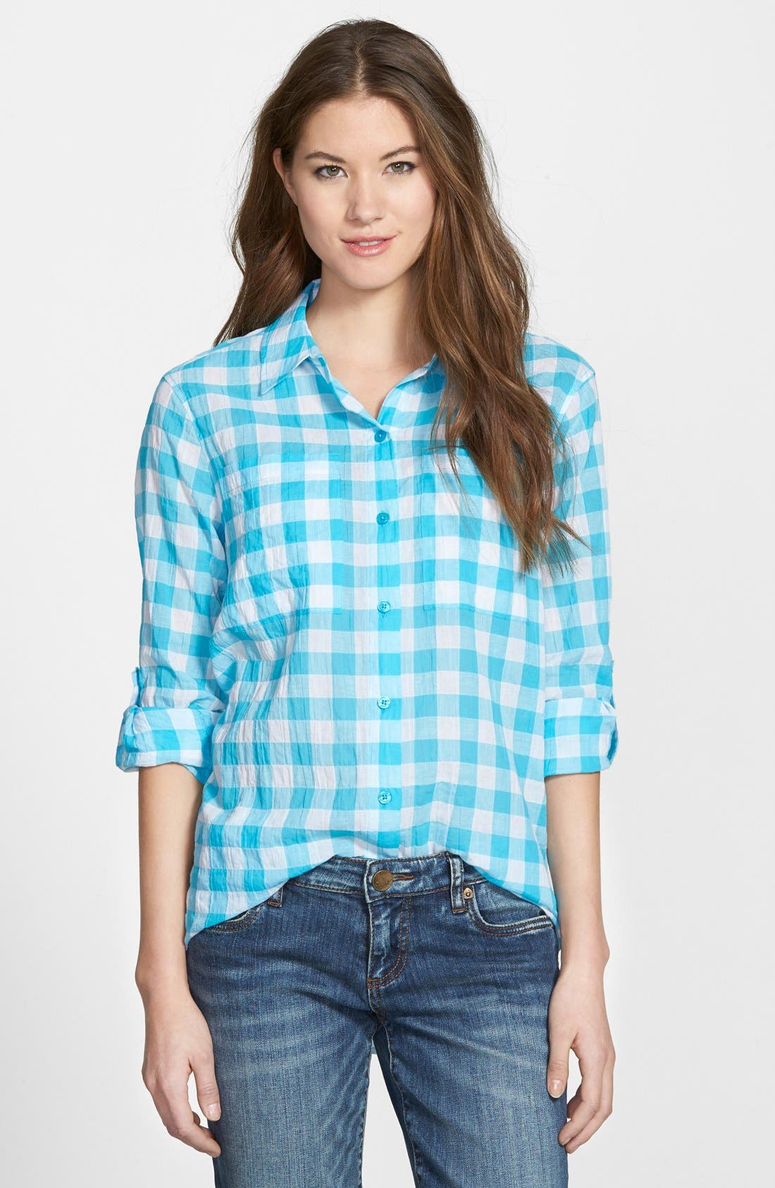 Main Image - MICHAEL Michael Kors Roll Sleeve Check Plaid Shirt (Regular & Petite)