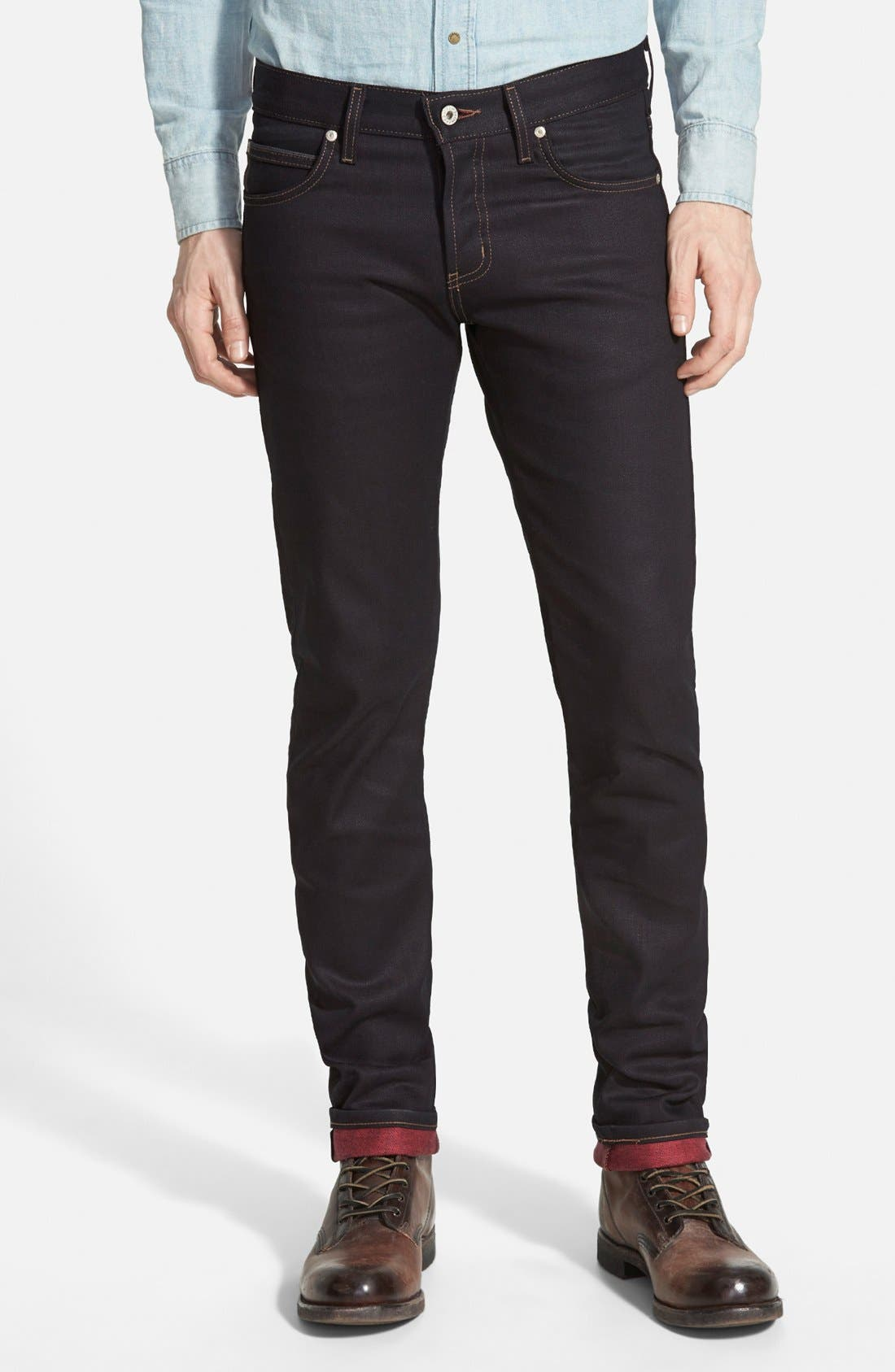 Naked & Famous Denim Super Skinny Guy Skinny Fit Jeans (Red Weft Stretch Selvedge)
