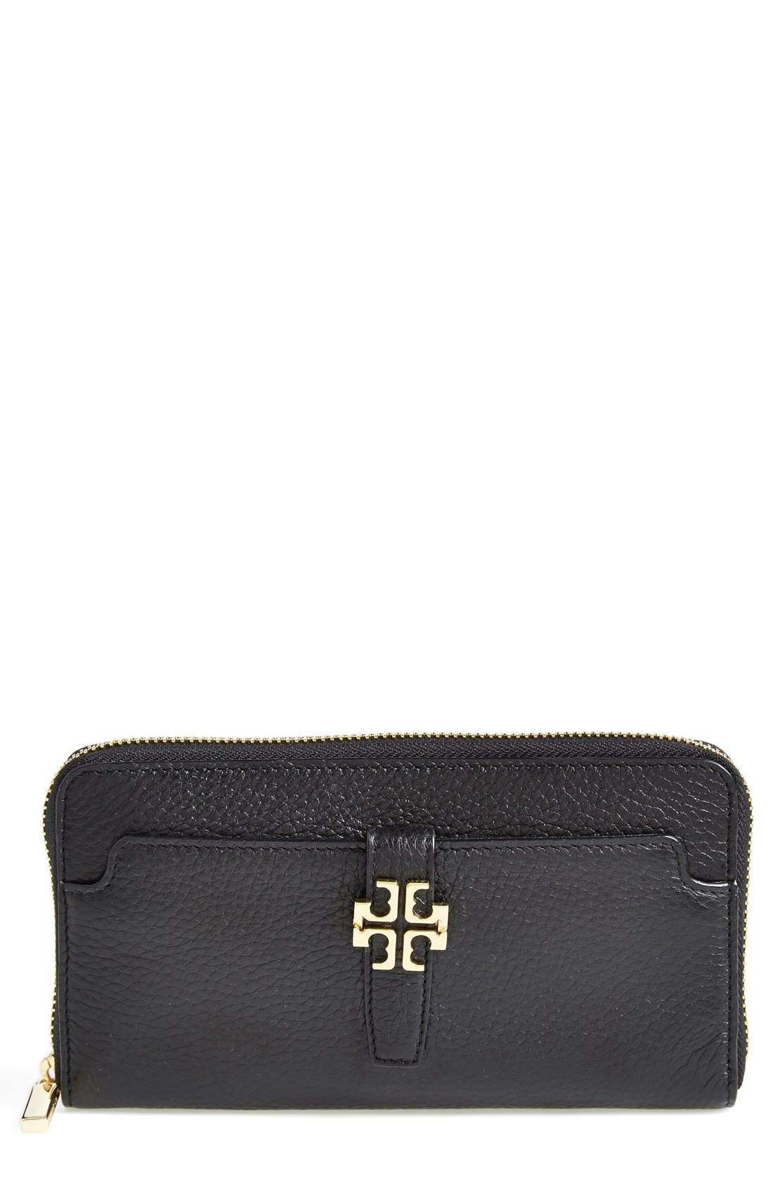 Alternate Image 1 Selected - Tory Burch 'Plaque' Zip Continental Wallet