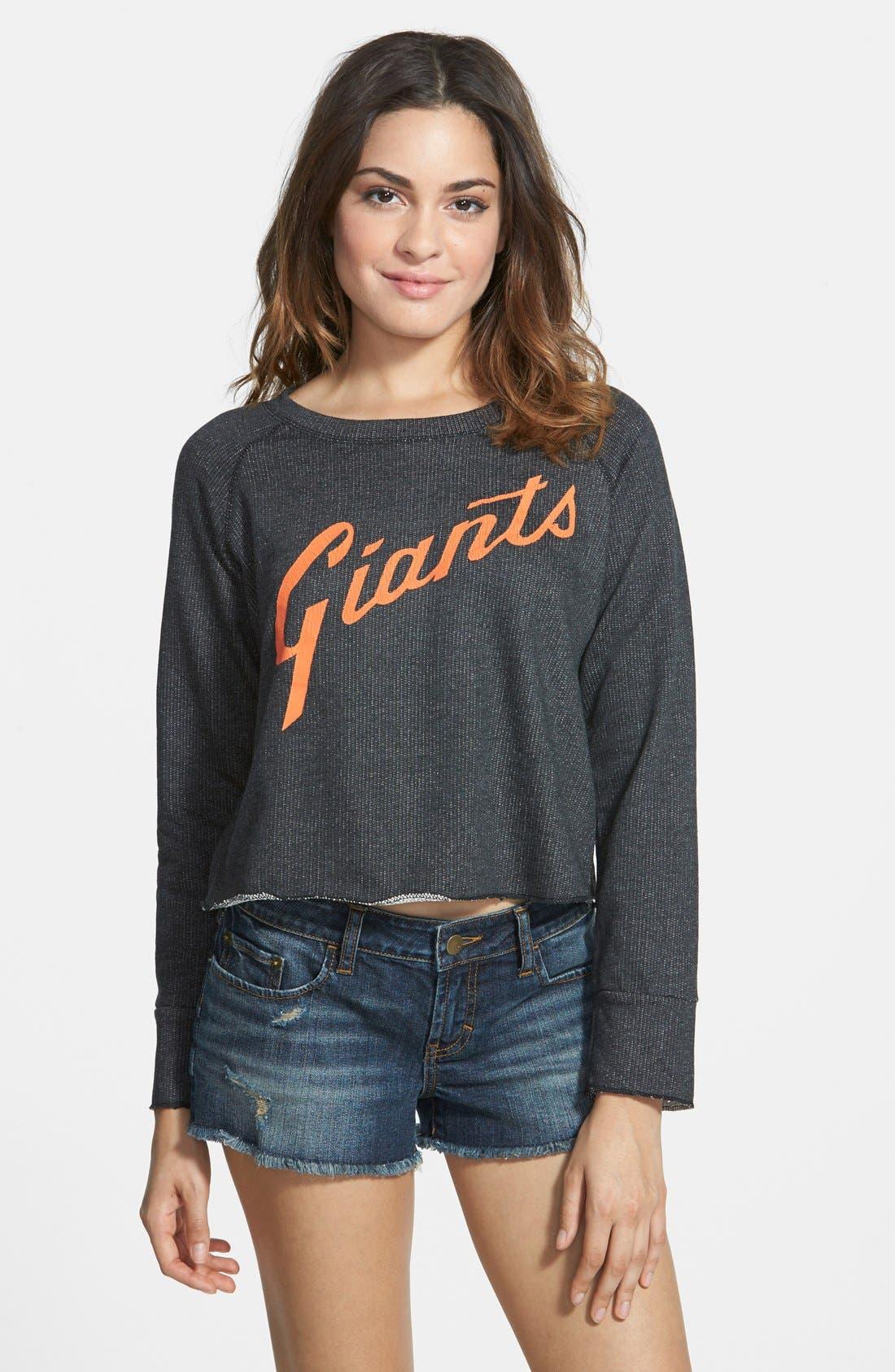 Alternate Image 1 Selected - Red Jacket 'Giants - Field Day' Crop Sweatshirt (Juniors)