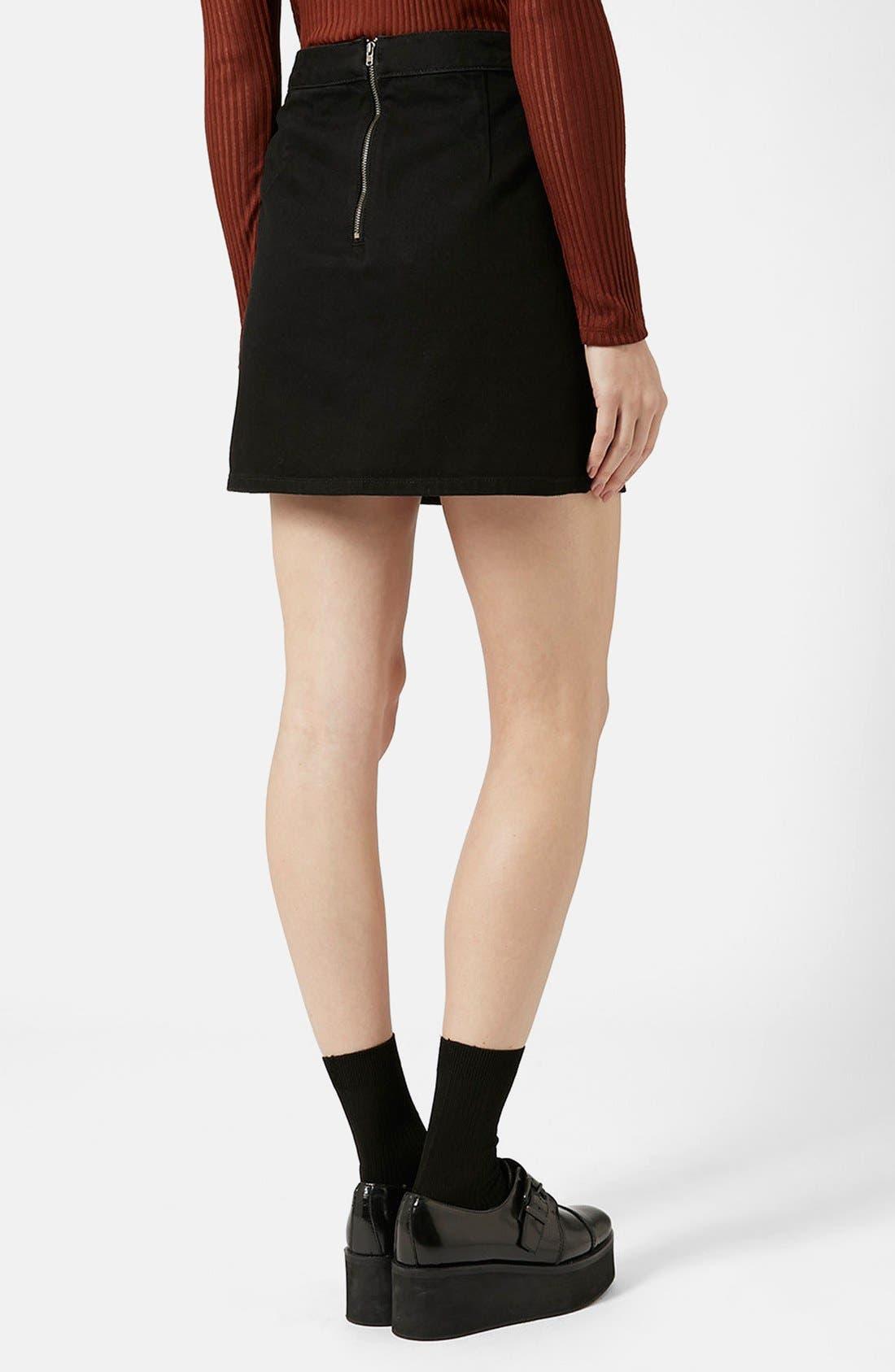 Alternate Image 2  - Topshop Moto Denim Miniskirt