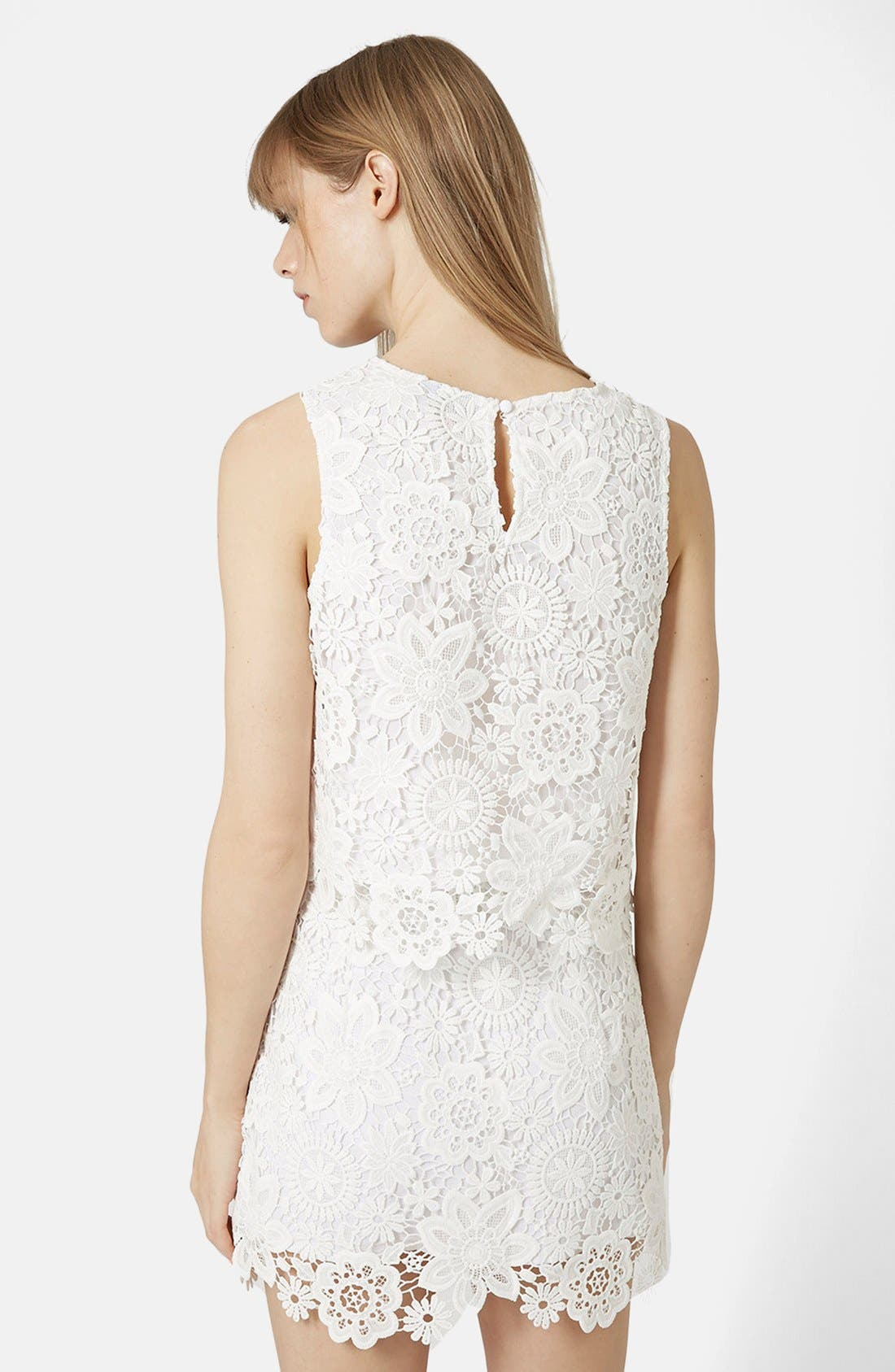 Alternate Image 2  - Topshop Crochet Lace Shell Top (Petite)