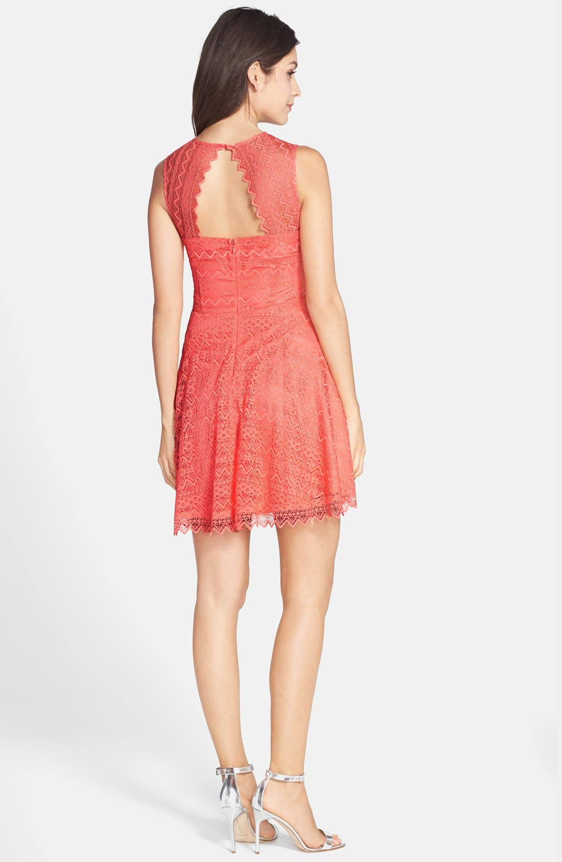 Alternate Image 2  - BB Dakota Zigzag Lace Fit & Flare Dress