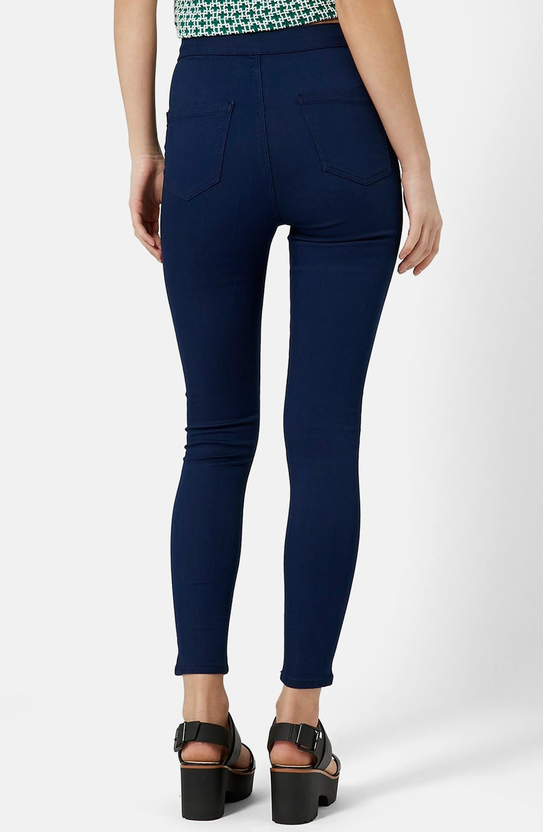Alternate Image 2  - Topshop Moto 'Joni' High Rise Skinny Jeans (Bright Blue)