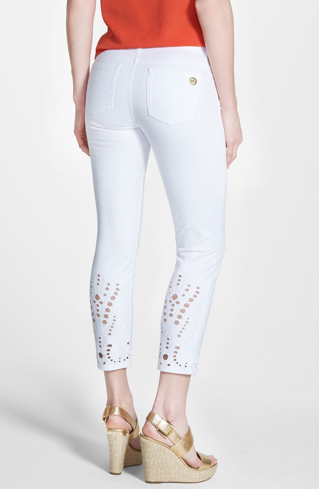 Alternate Image 2  - MICHAEL Michael Kors Eyelet Embroidered Stretch Crop Skinny Jeans (White)