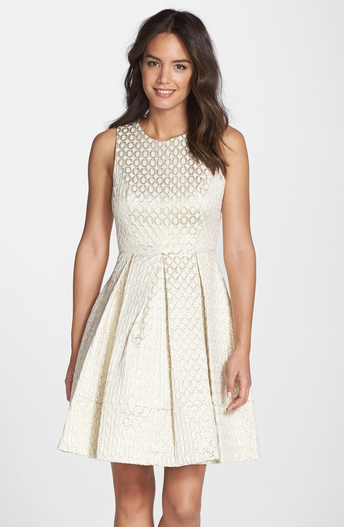 Main Image - Eliza J Jacquard Fit & Flare Dress (Regular & Petite)