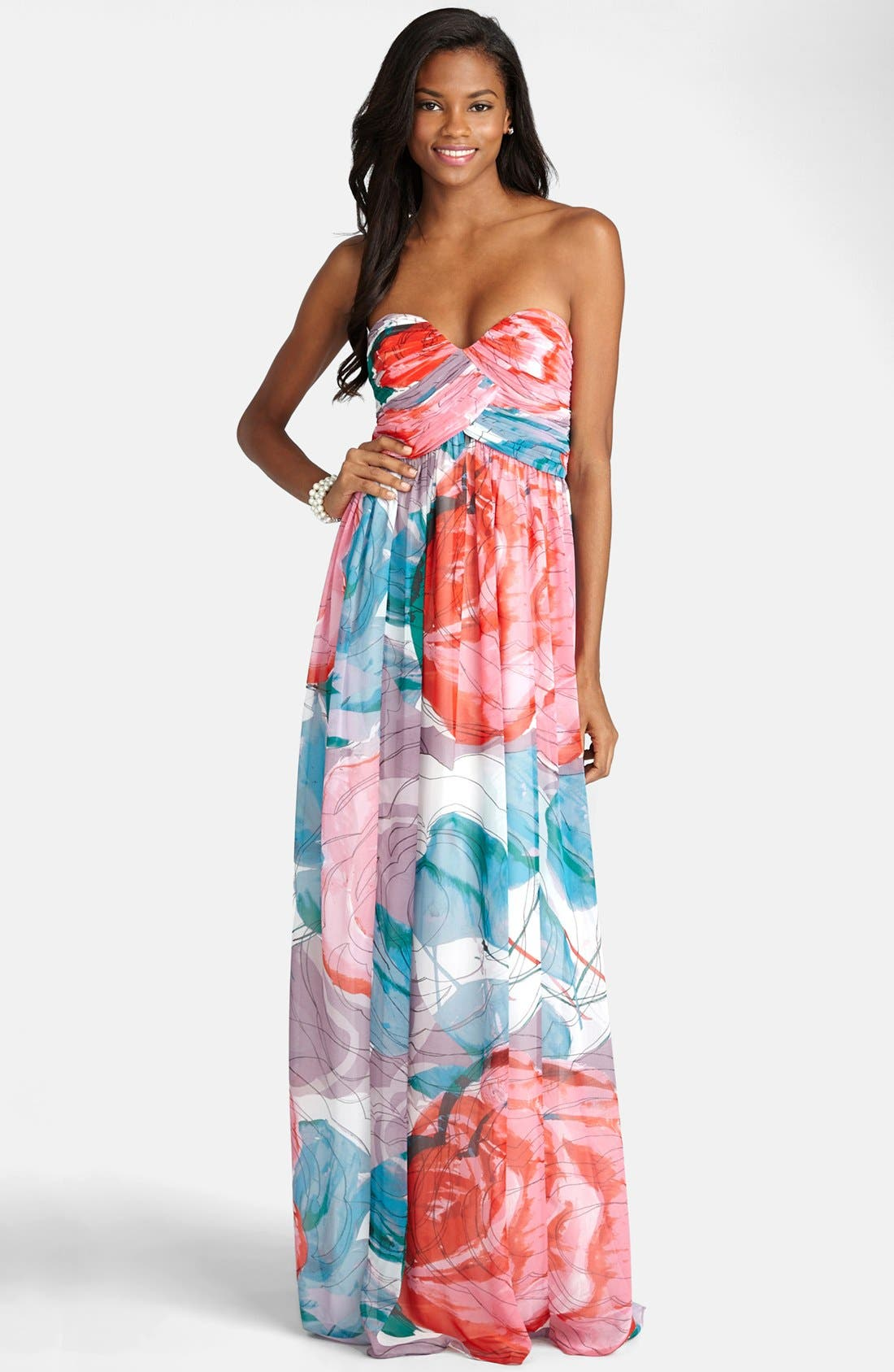 Main Image - Donna Morgan 'Laura' Print Strapless Sweetheart Chiffon Gown