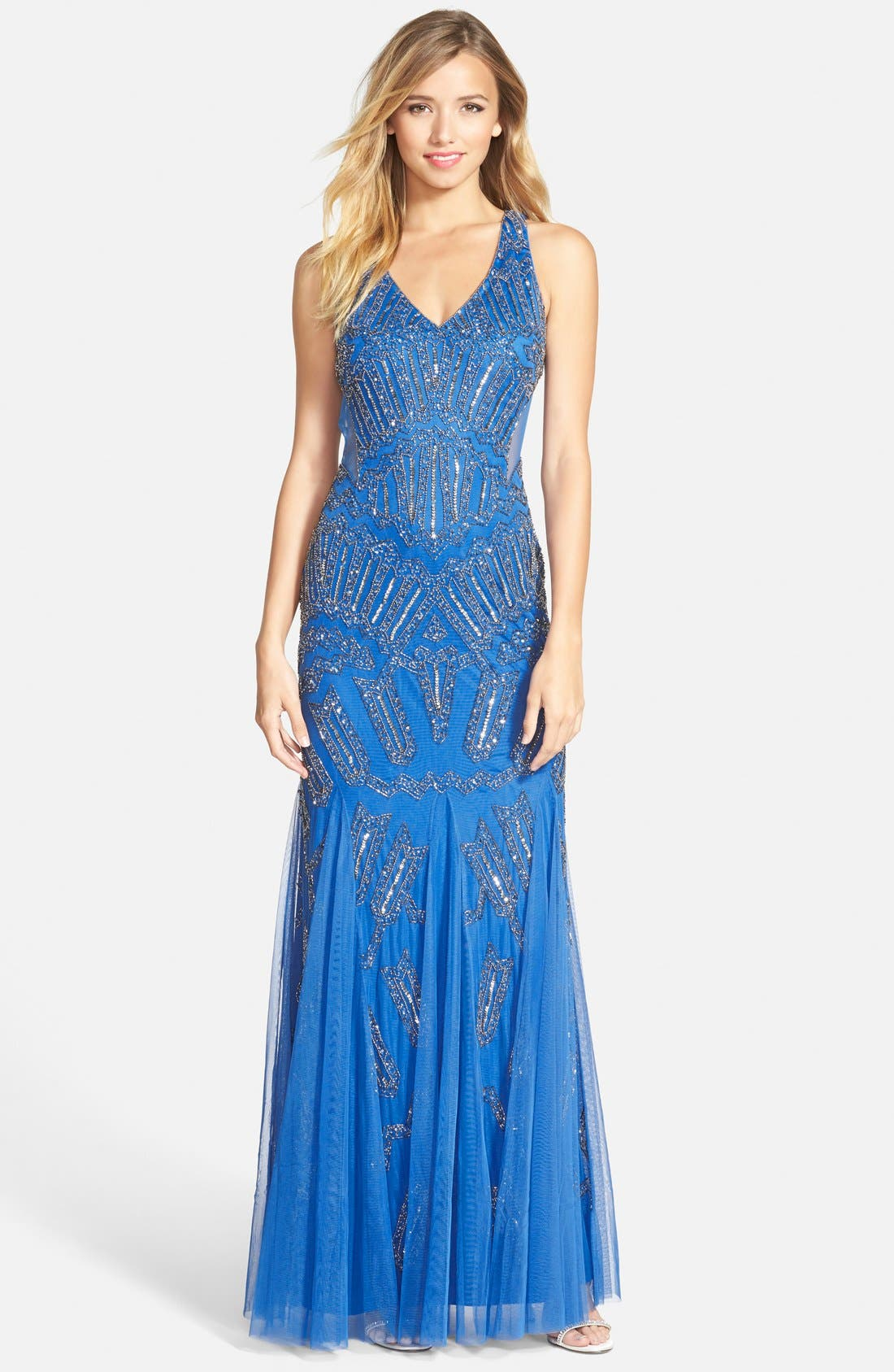 Main Image - Adrianna Papell Beaded Mesh Inset Gown
