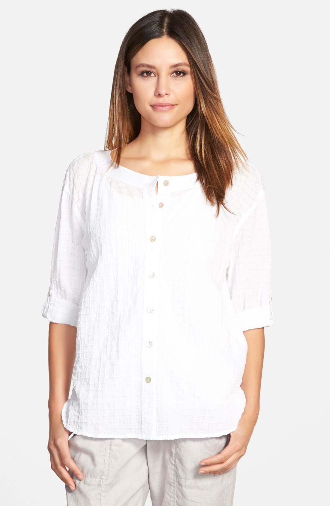 Alternate Image 1 Selected - Eileen Fisher Bateau Neck Shirt (Regular & Petite)