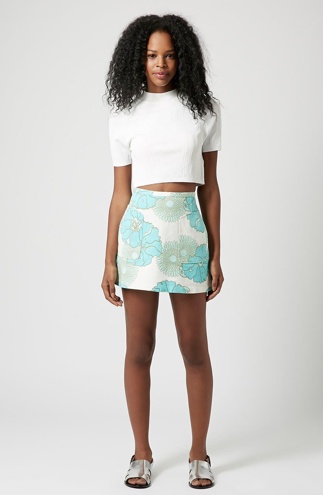 Alternate Image 4  - Topshop Retro Floral Miniskirt