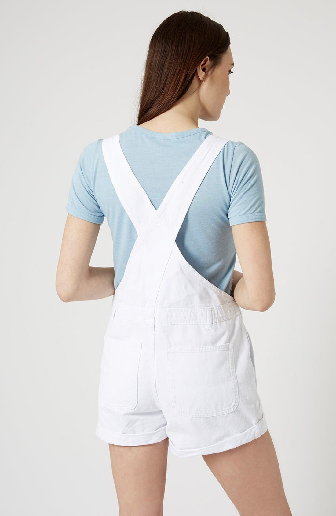 Alternate Image 2  - Topshop Moto Dungaree Short Overalls (White)