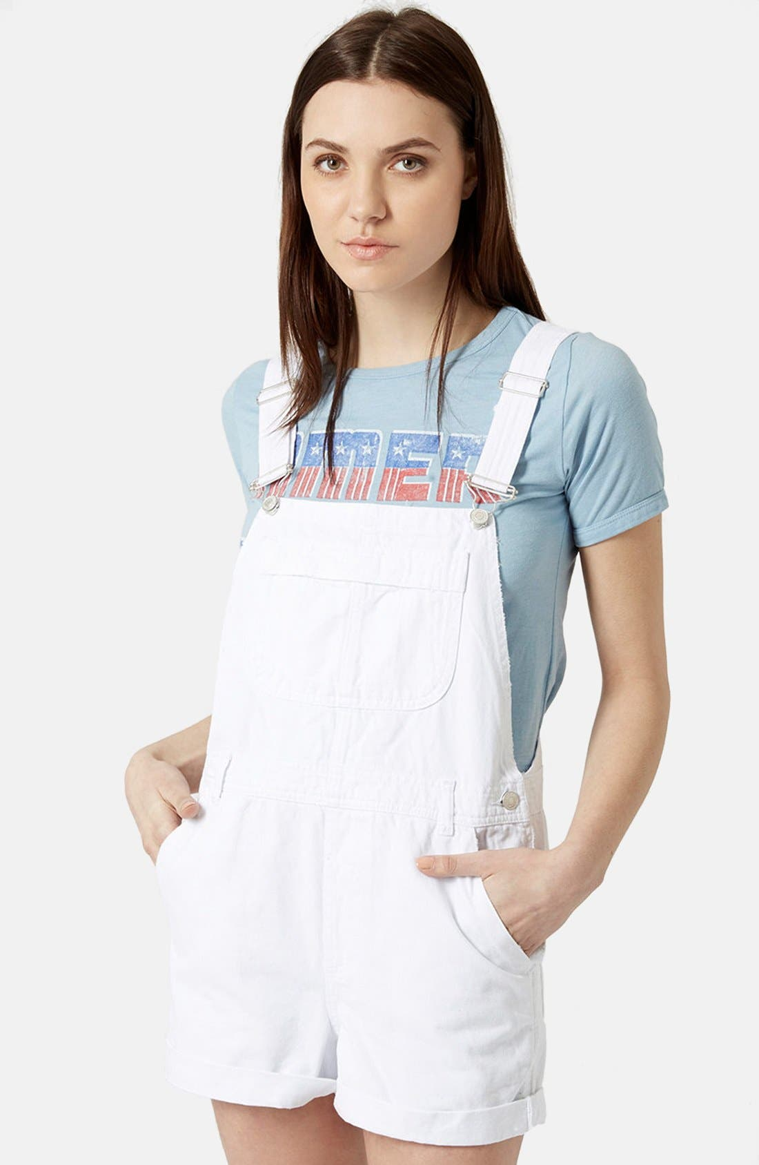 Alternate Image 1 Selected - Topshop Moto Dungaree Short Overalls (White)