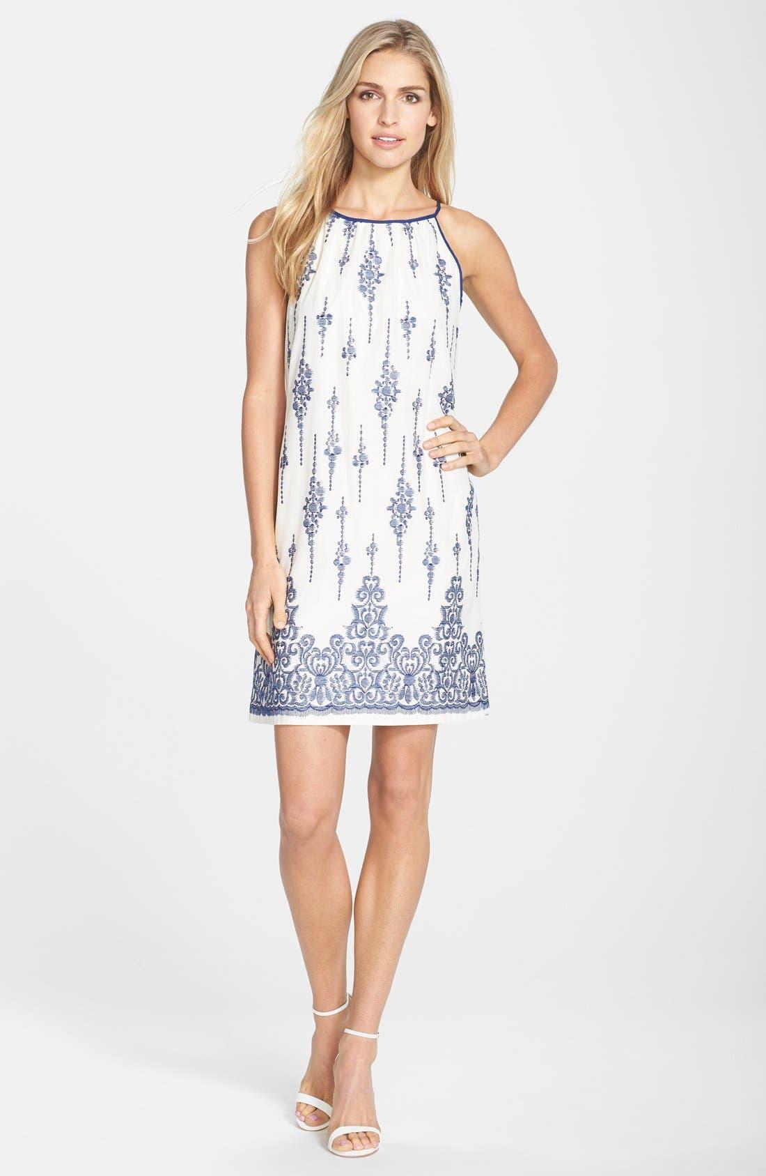 Alternate Image 3  - Taylor Dresses Embroidered Cotton Voile Shift Dress