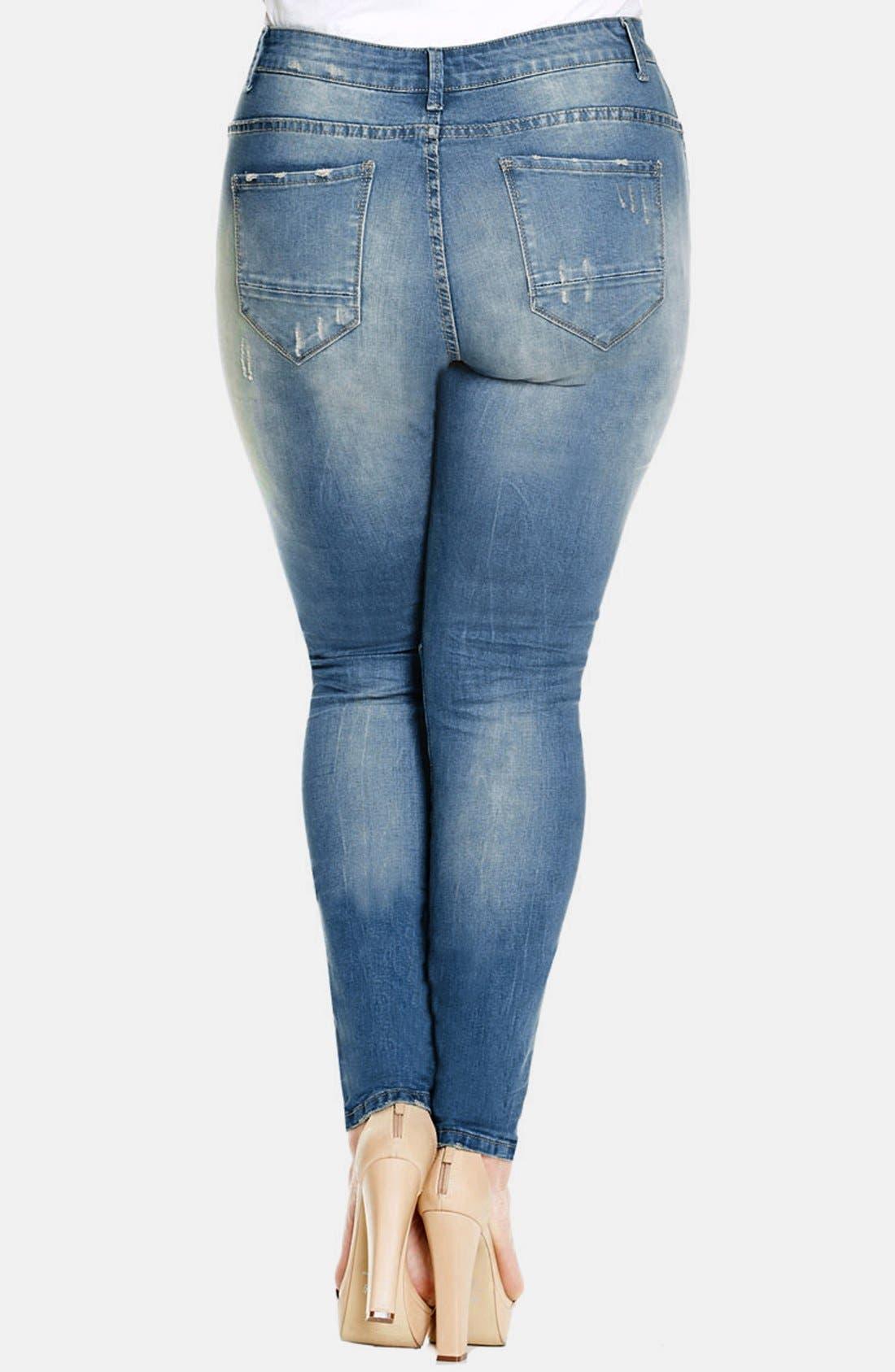 Alternate Image 2  - City Chic Destructed Stretch Skinny Jeans (Light Denim) (Plus Size)