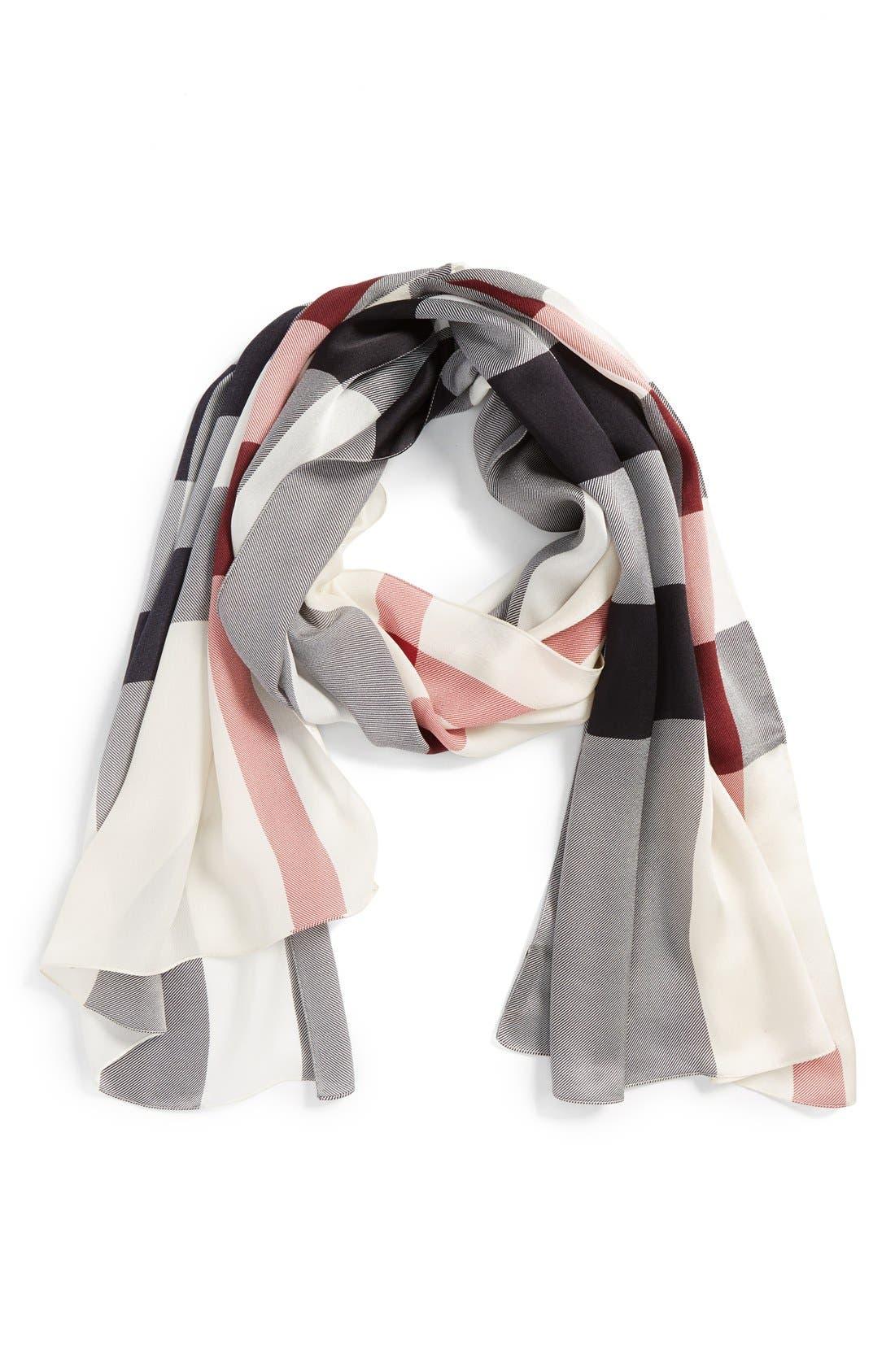 Main Image - Burberry Check Print Silk Scarf