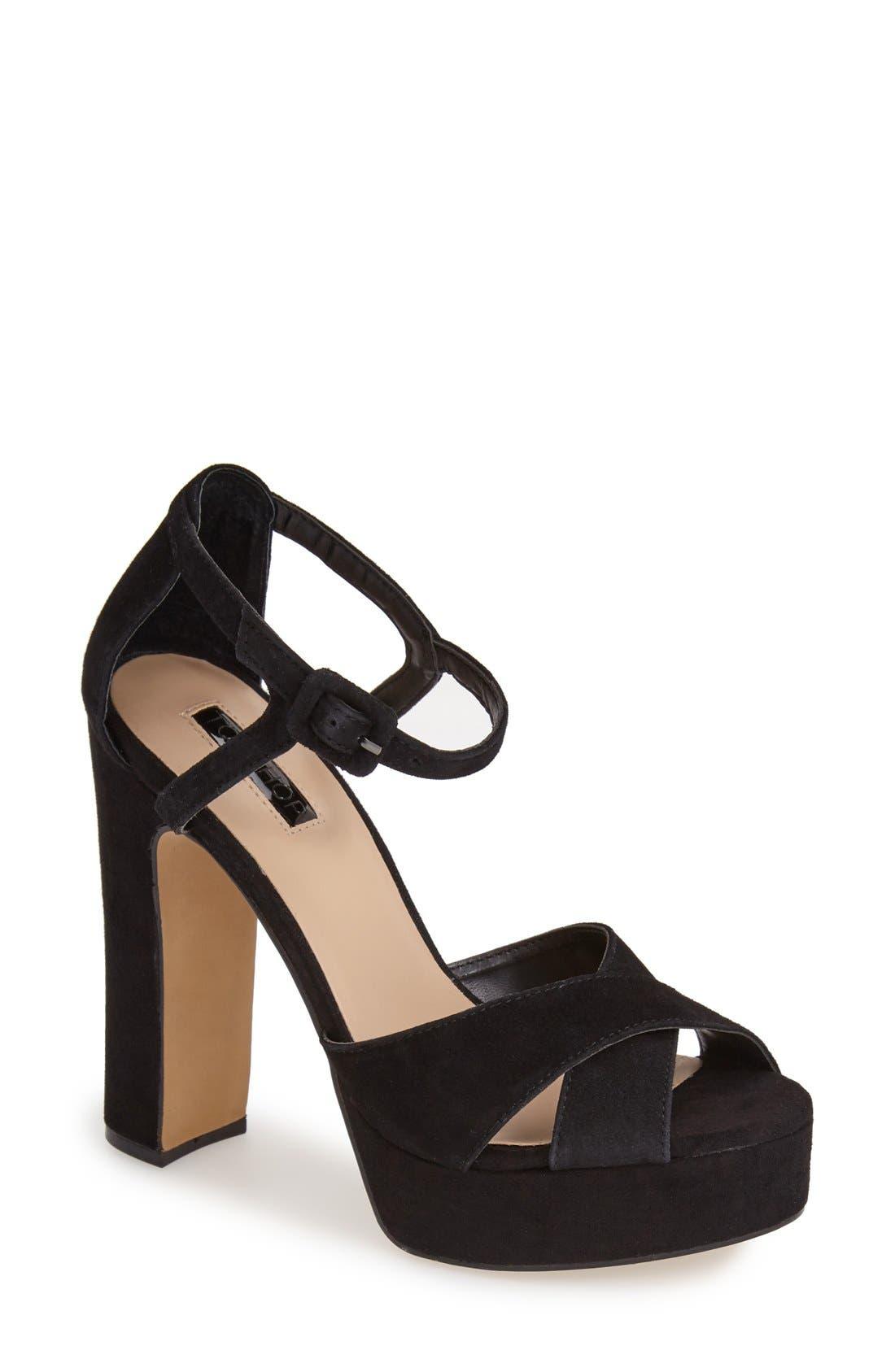 Main Image - Topshop 'Locket' Platform Suede Sandal (Women)