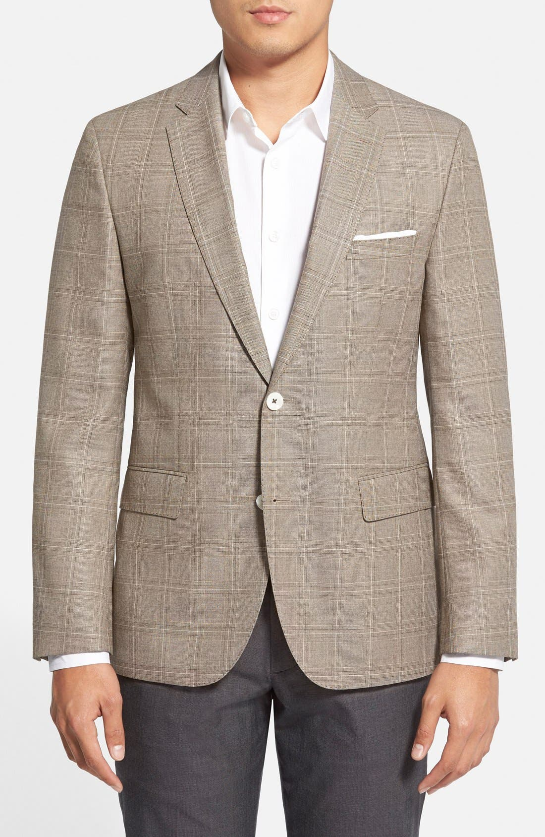 Main Image - BOSS 'Jarett' Trim Fit Plaid Wool Blend Sport Coat