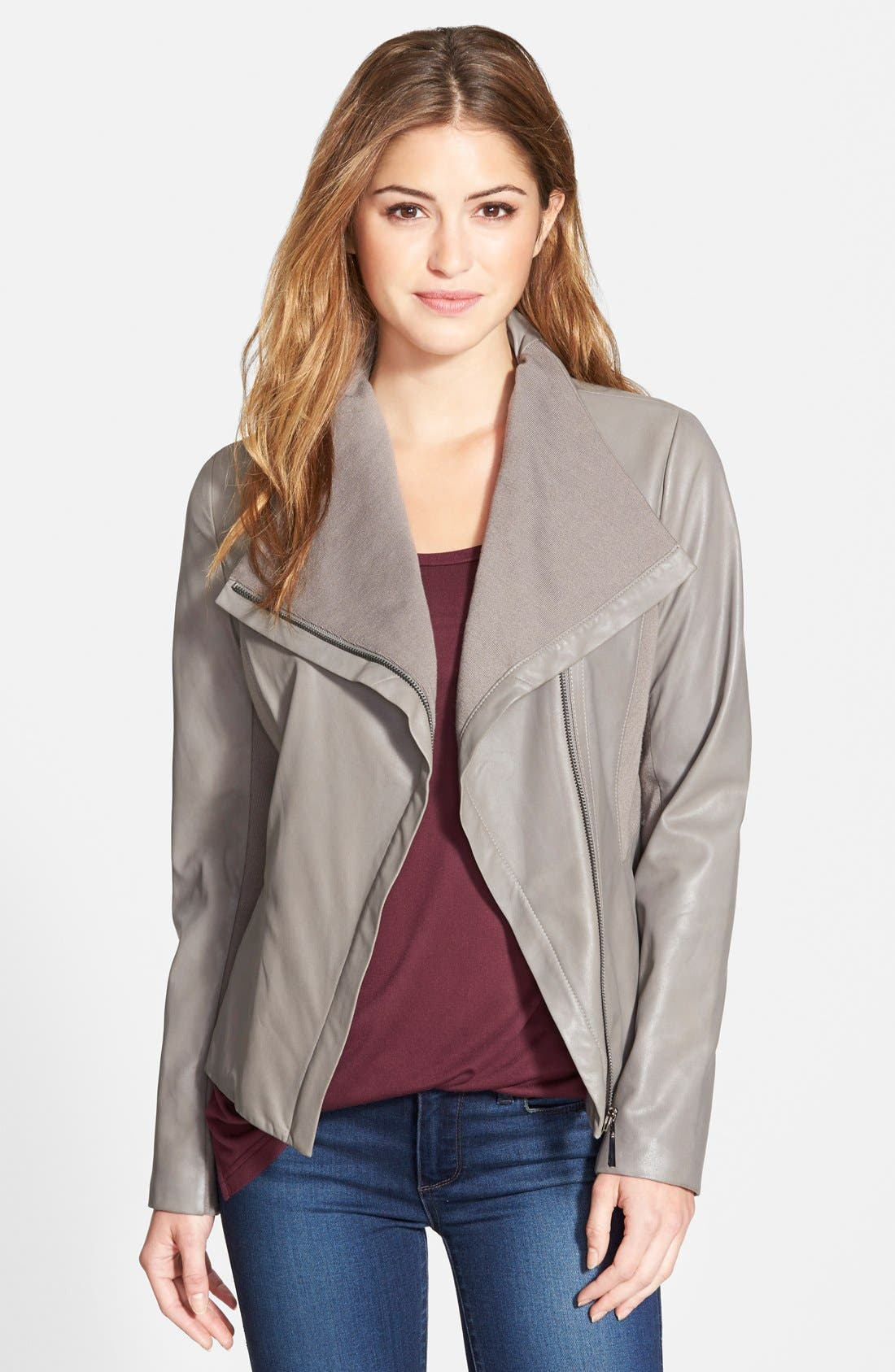 Main Image - T Tahari 'Luisa' Knit Panel Drape Front Leather Jacket (Online Only)
