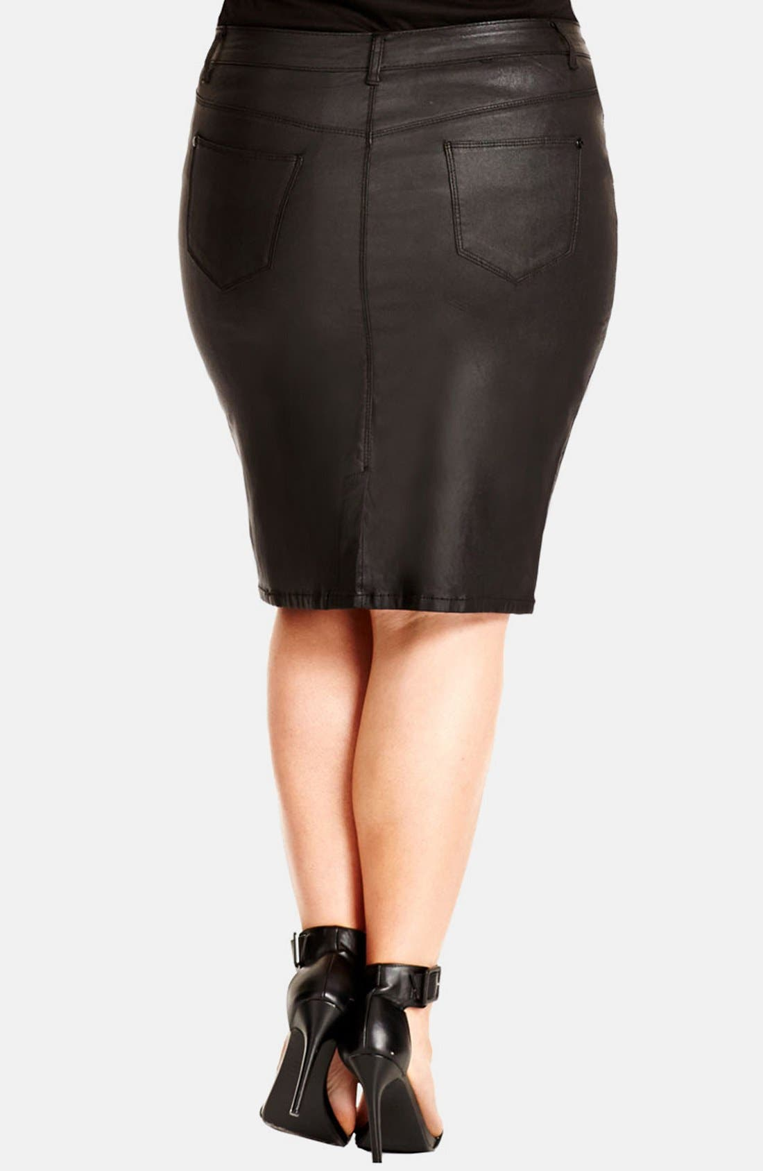 Alternate Image 2  - City Chic 'Wet Look' Pencil Skirt (Plus Size)