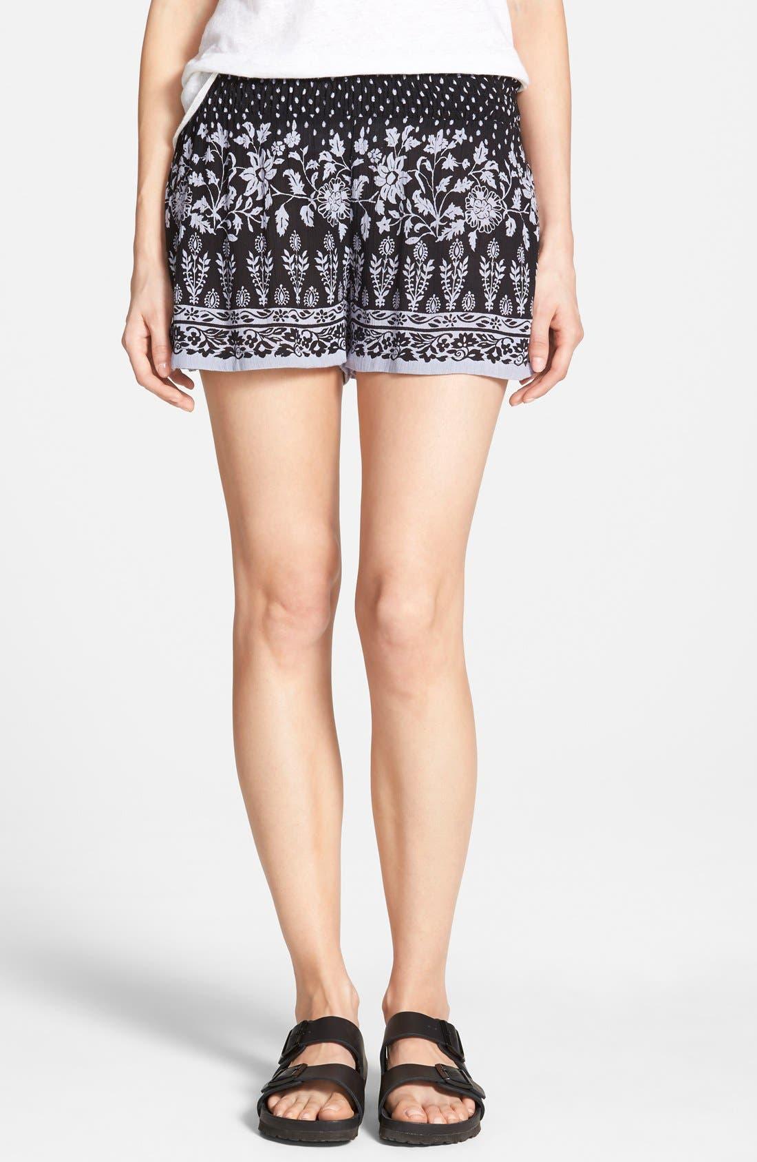 Main Image - Angie Floral Print Shorts (Juniors)