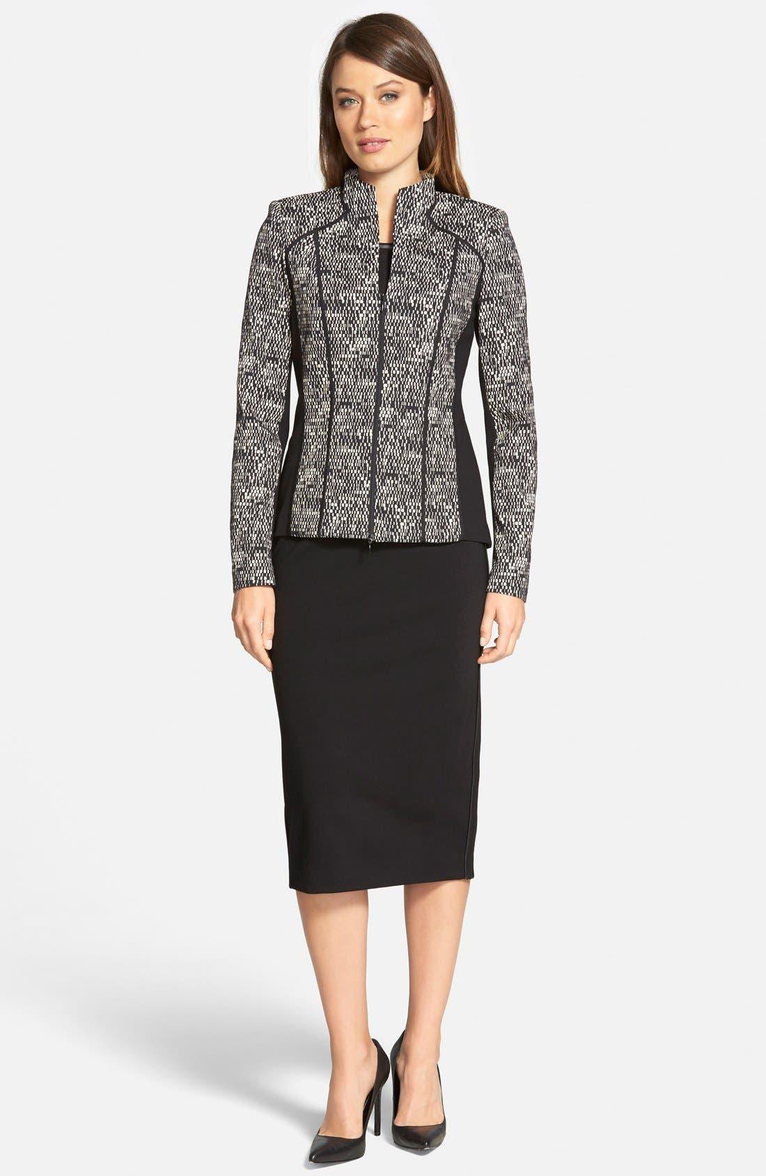 Alternate Image 4  - Lafayette 148 New York Faux Leather Trim Punto Milano Long Pencil Skirt