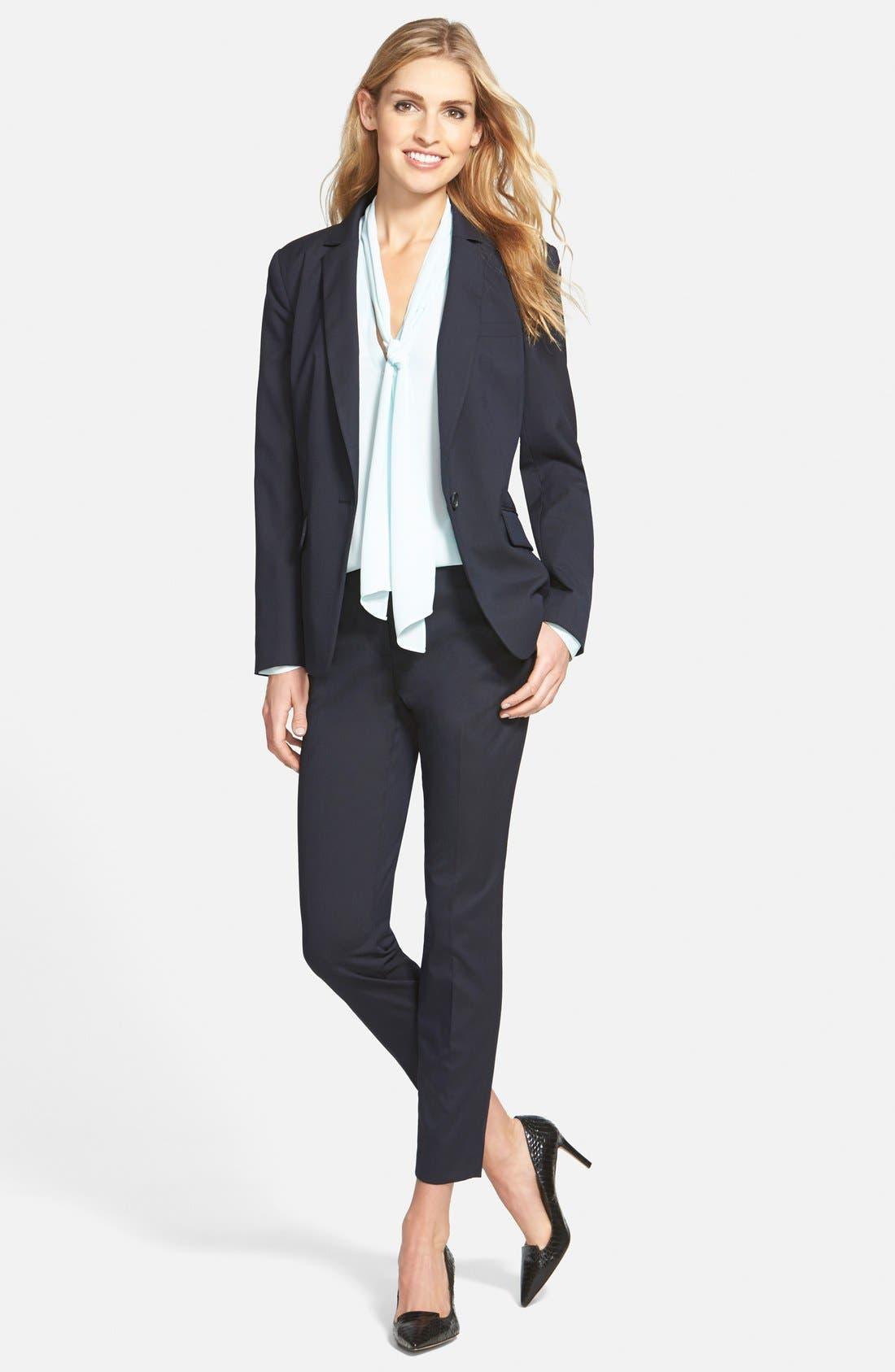 Alternate Image 5  - Halogen® 'Taylor' Lapis Pattern Suit Pants (Regular & Petite)