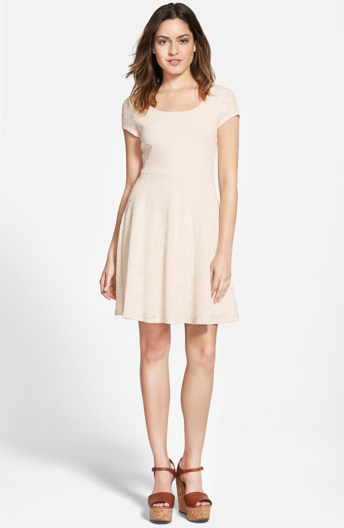 Main Image - Soprano Lace Cap Sleeve Skater Dress (Juniors)