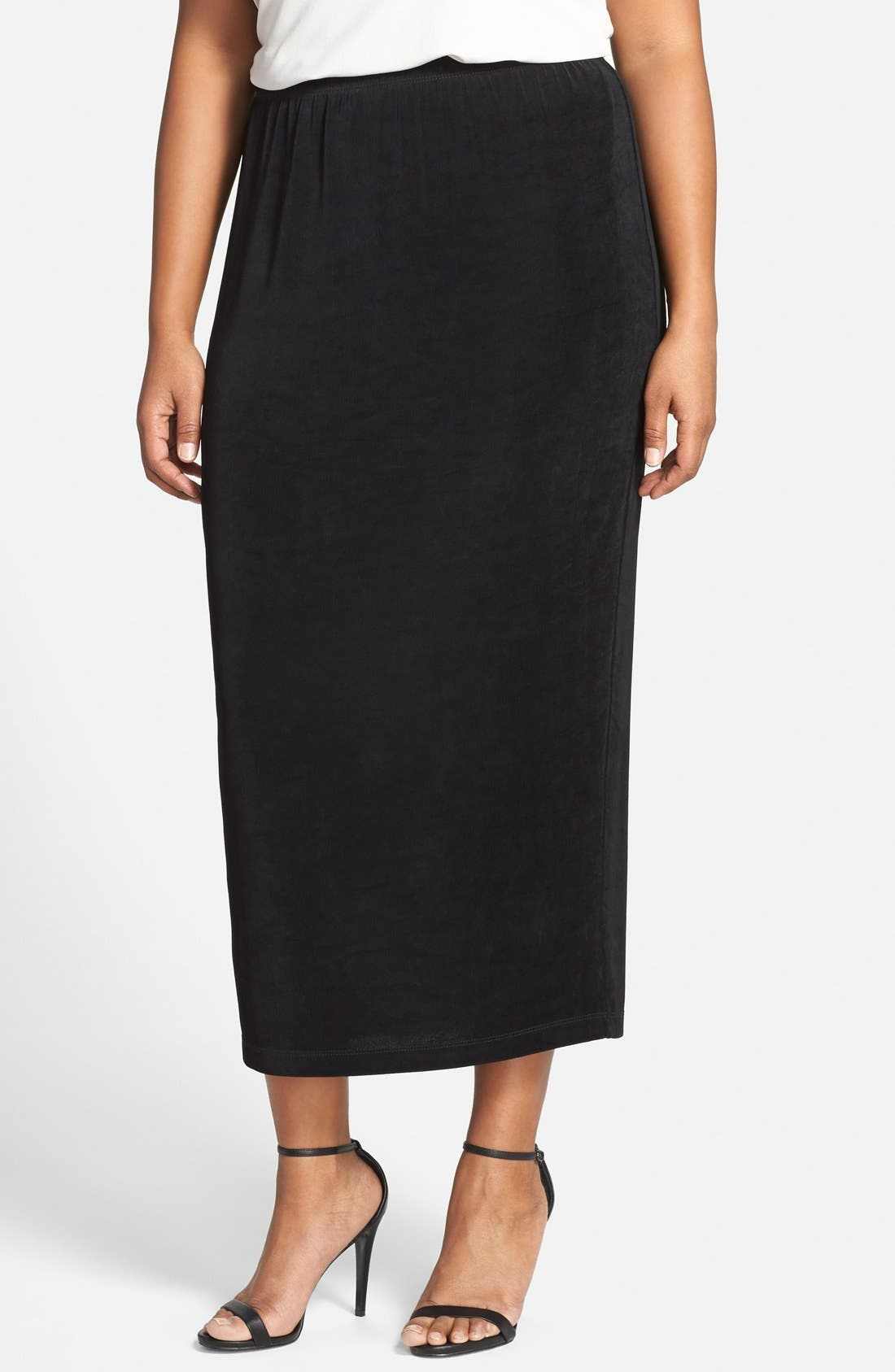 Vikki Vi Stretch Knit Straight Maxi Skirt (Plus Size)