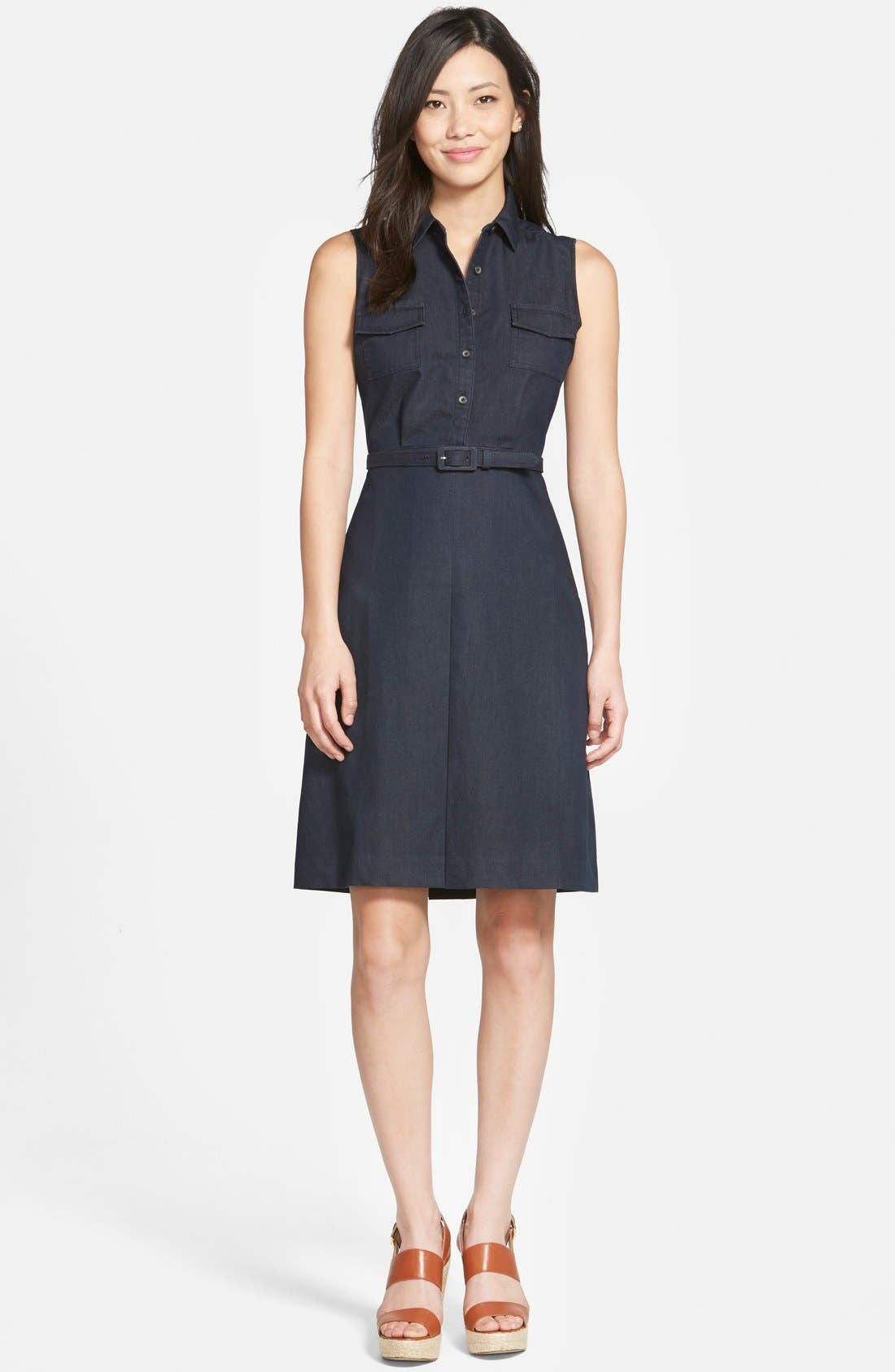 Main Image - Halogen® Belted Sleeveless Shirtdress (Regular & Petite)