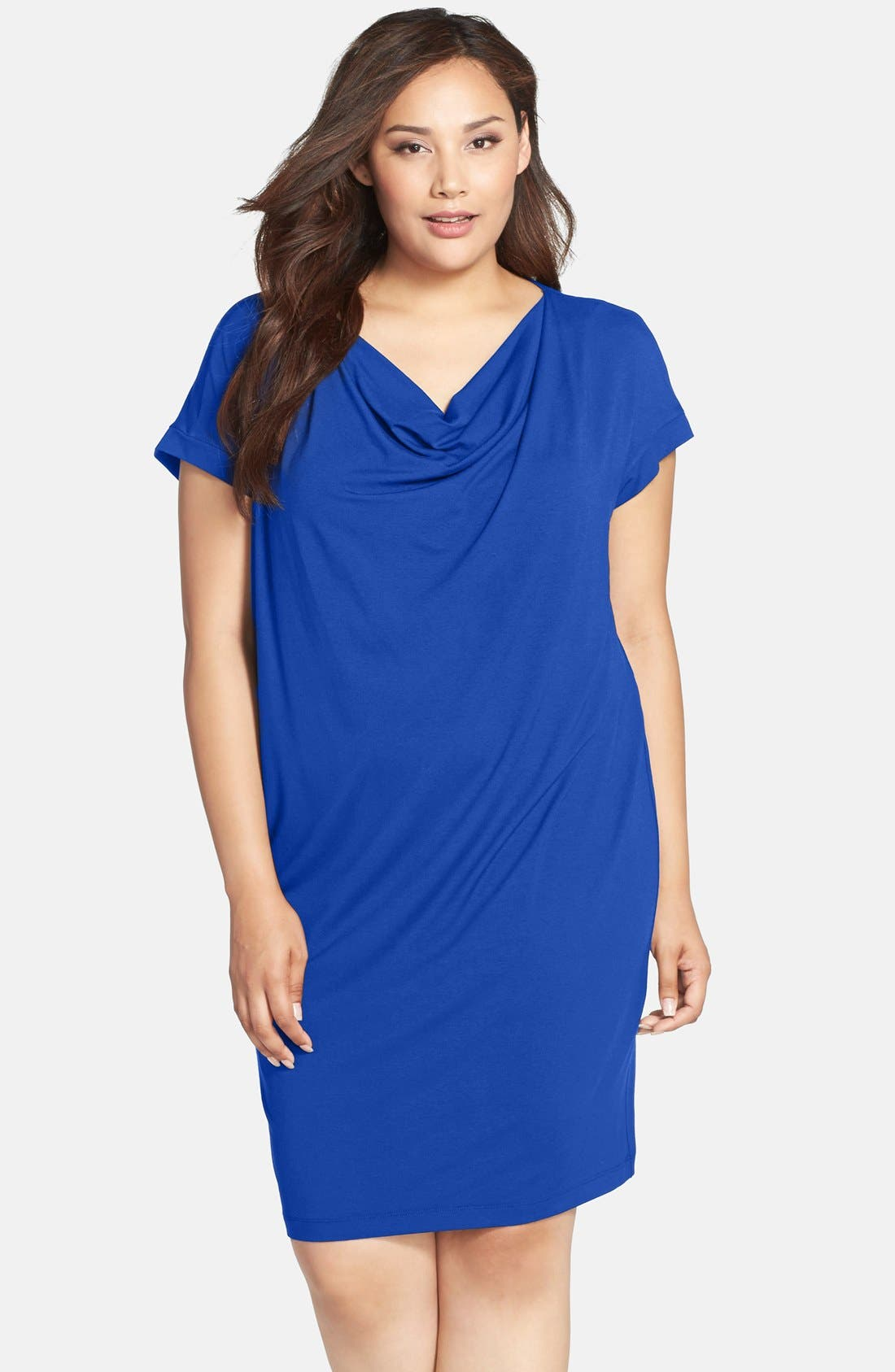 Alternate Image 1 Selected - Eileen Fisher Drape Neck Jersey Shift Dress (Plus Size)