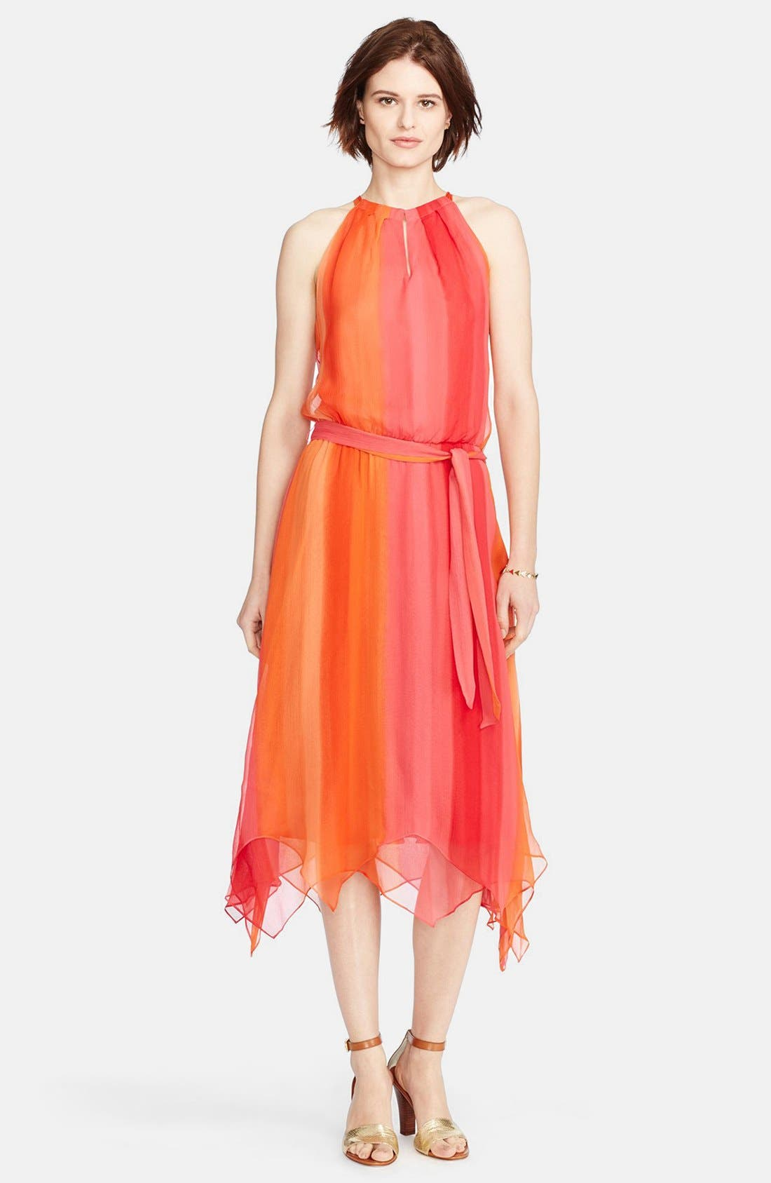 Main Image - Lauren Ralph Lauren Silk Ombré Halter Dress