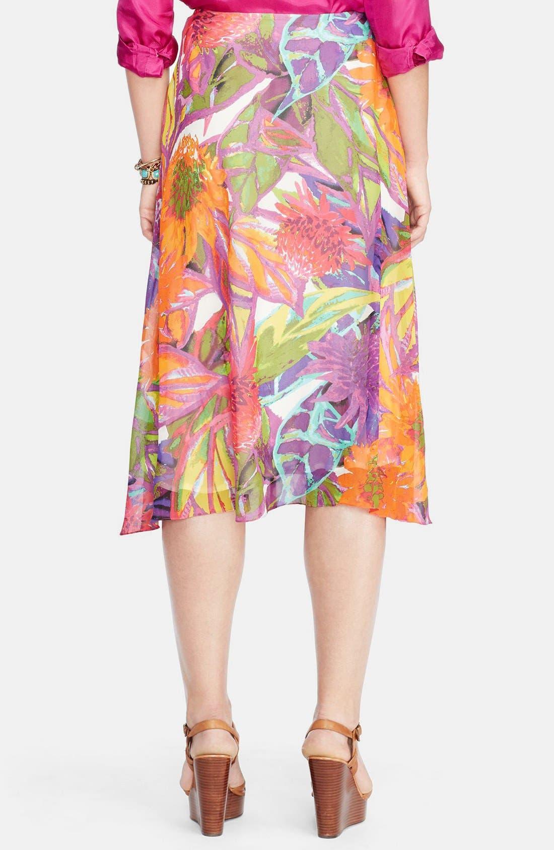 Alternate Image 2  - Lauren Ralph Lauren Ruffled Floral Faux Wrap Skirt