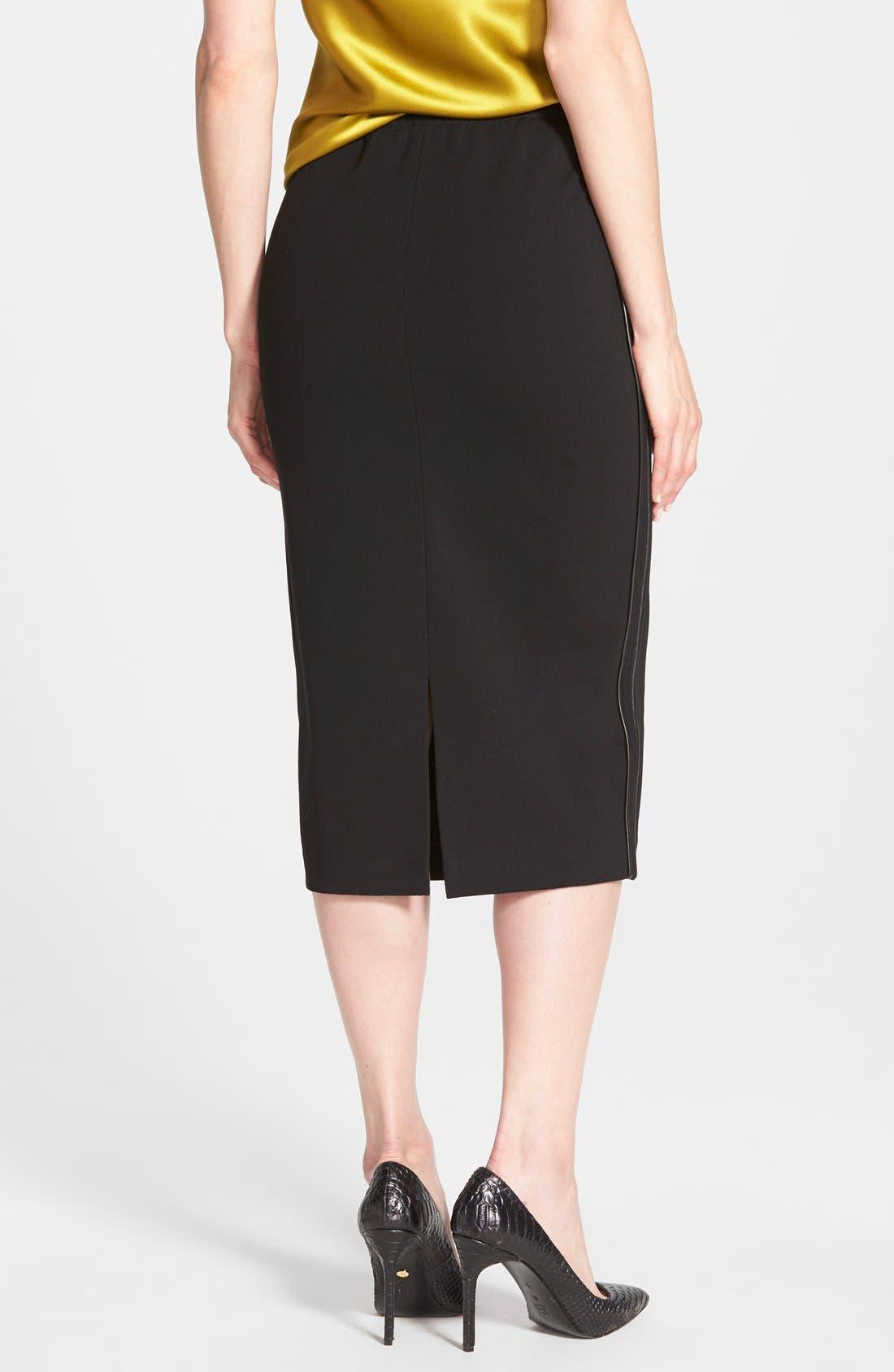 Alternate Image 2  - Lafayette 148 New York Faux Leather Trim Punto Milano Long Pencil Skirt