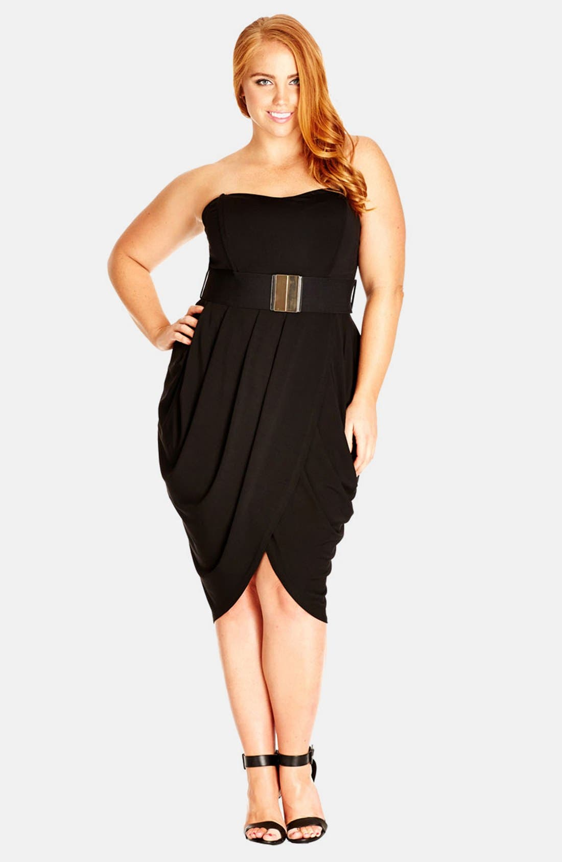Main Image - City Chic 'Drape Sweetheart' Belted Strapless Dress (Plus Size)