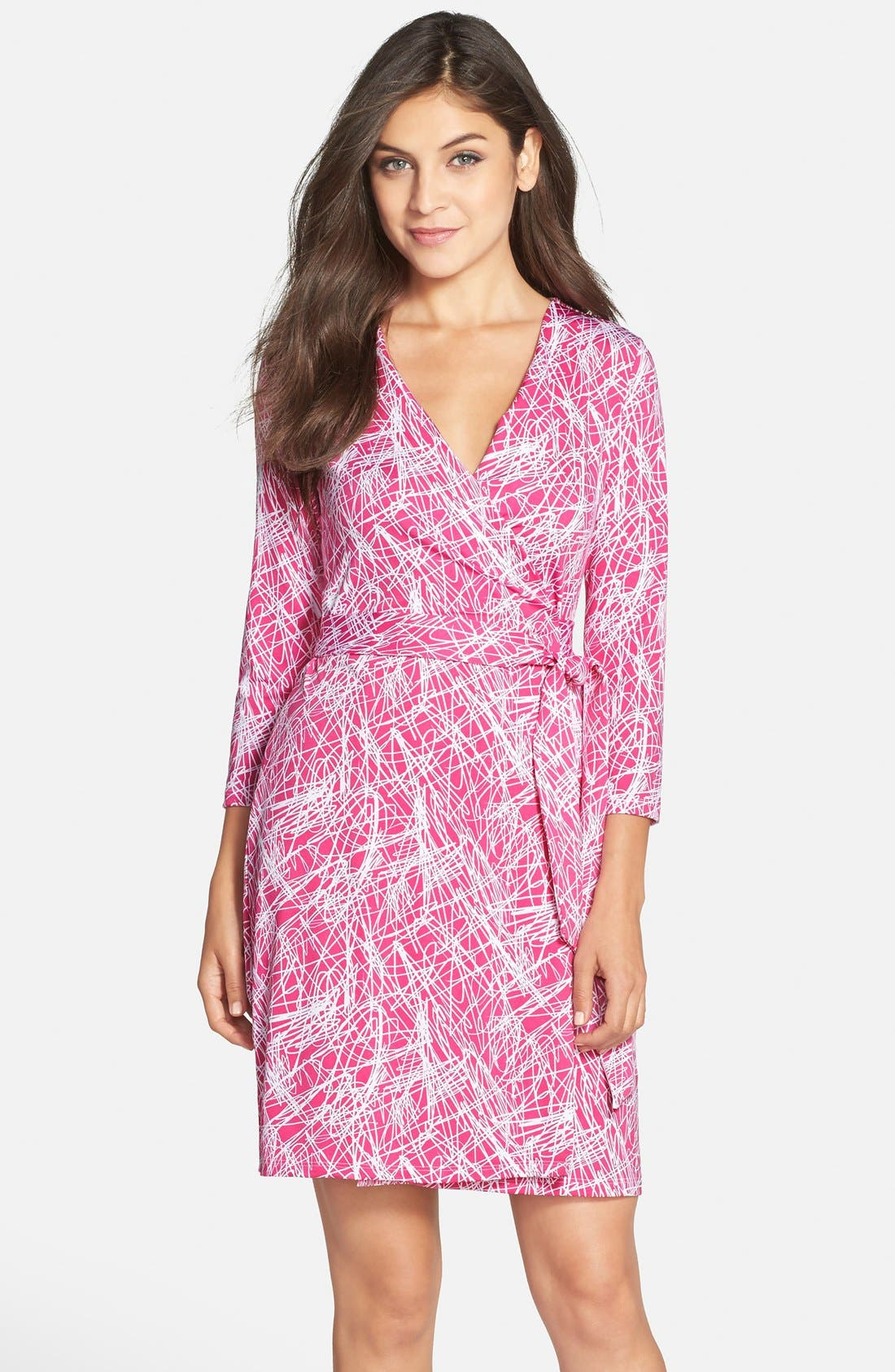 Main Image - Charles Henry Print Jersey Wrap Dress
