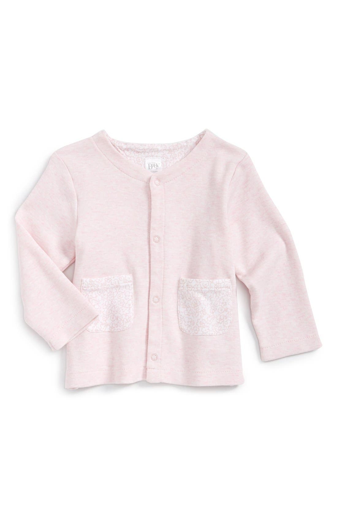 Nordstrom Baby Contrast Pocket Cotton Cardigan (Baby Girls)