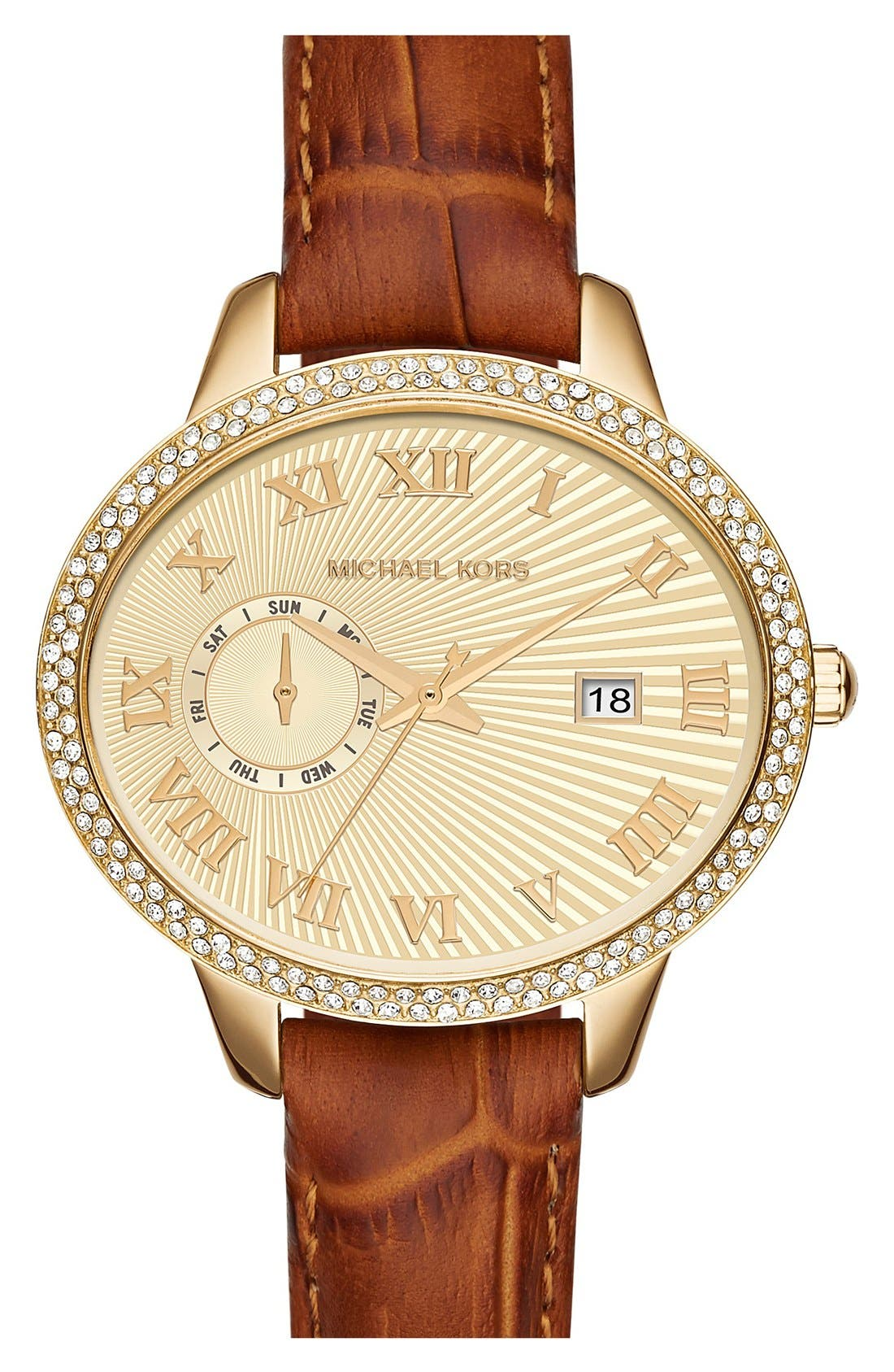 Alternate Image 1 Selected - MICHAEL Michael Kors 'Whitley' Leather Strap Watch, 41mm