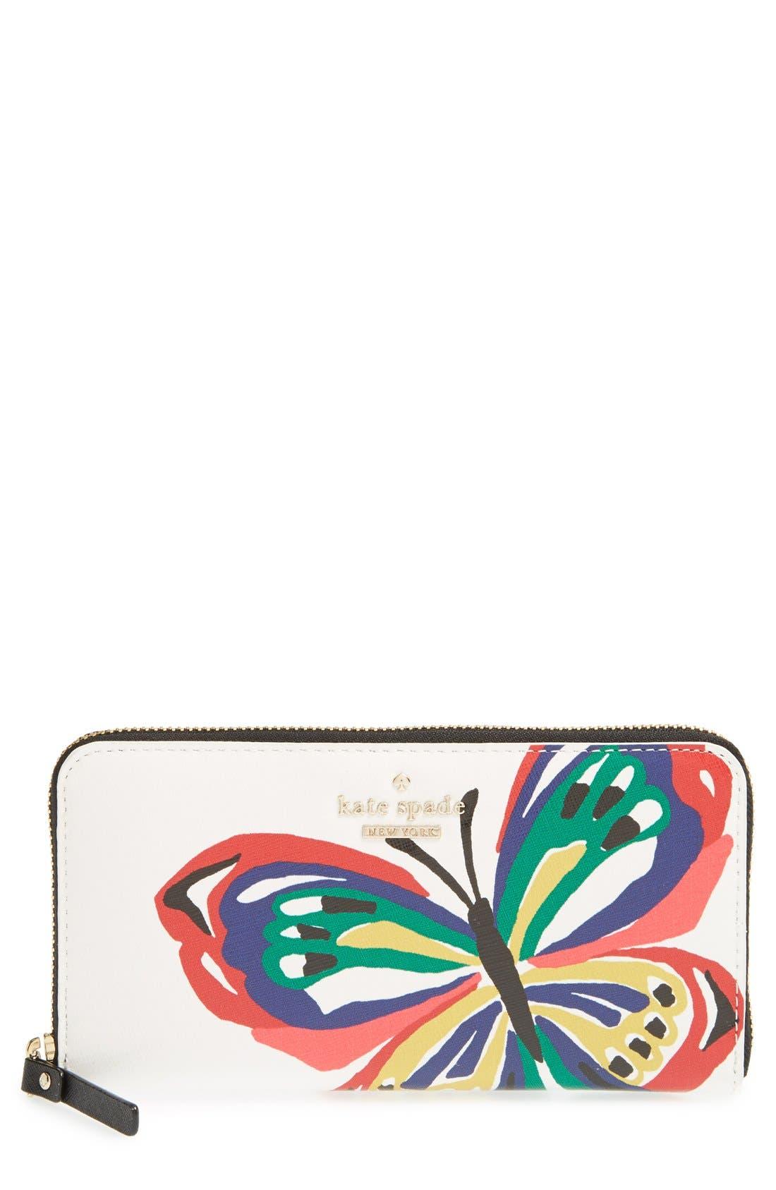 Main Image - kate spade new york 'wing it - lacey' zip around wallet