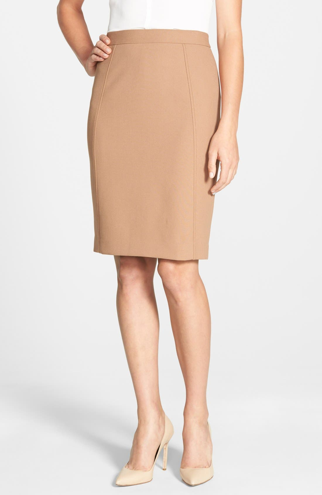 Main Image - Halogen® Seamed Pencil Skirt (Regular & Petite)