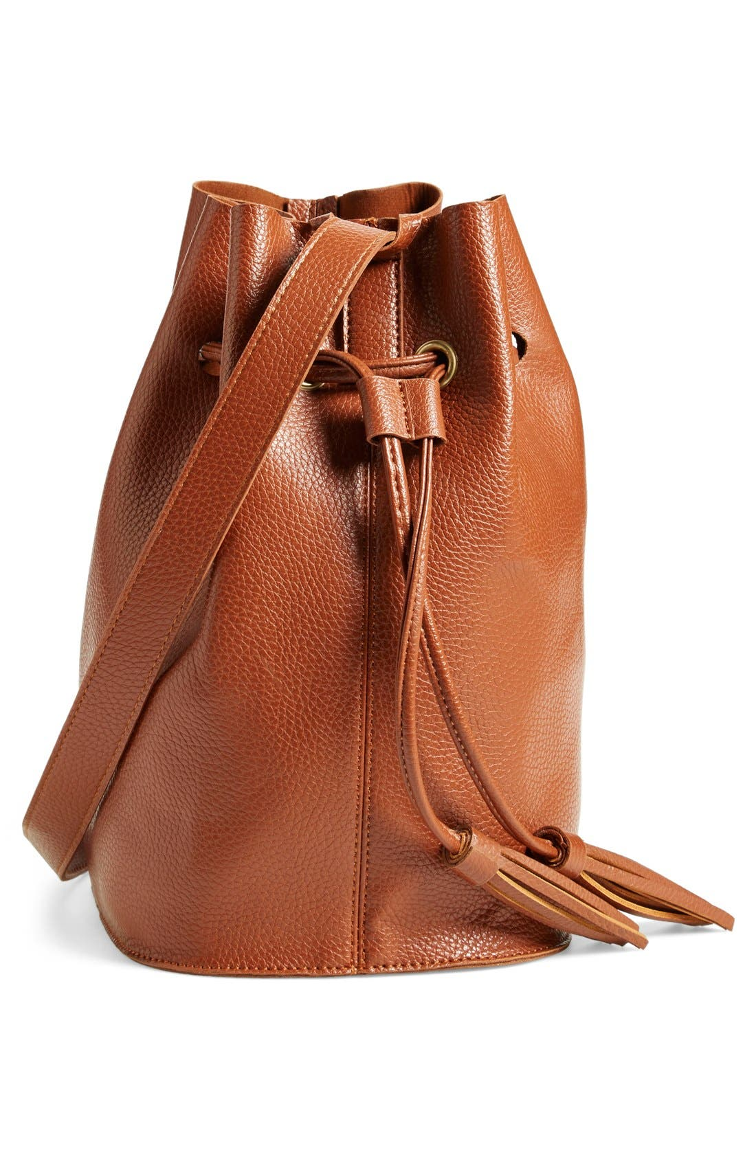 Alternate Image 5  - Street Level Faux Leather Bucket Bag (Online Only)