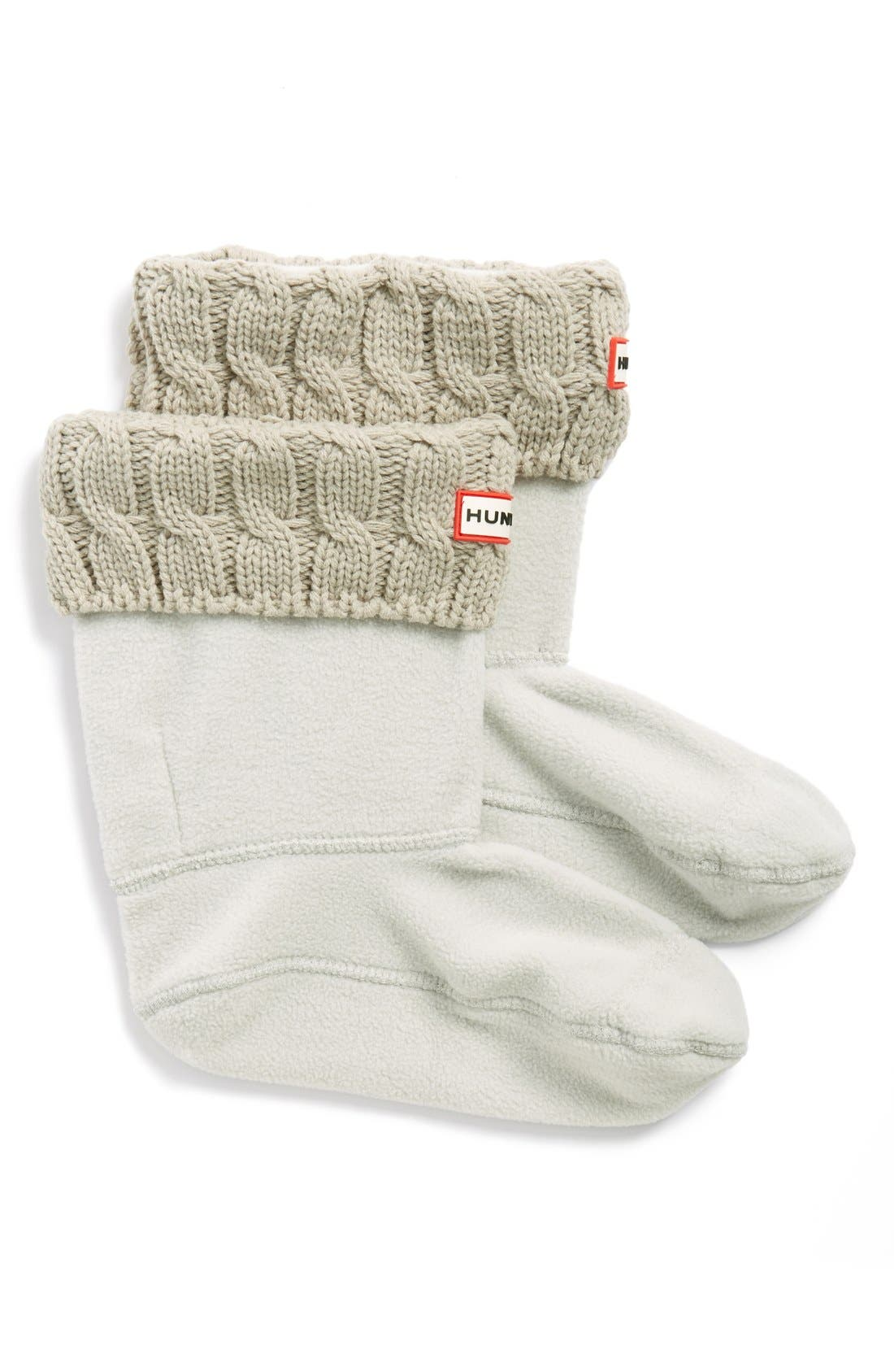 HUNTER Original Short Cable Knit Cuff Welly Boot