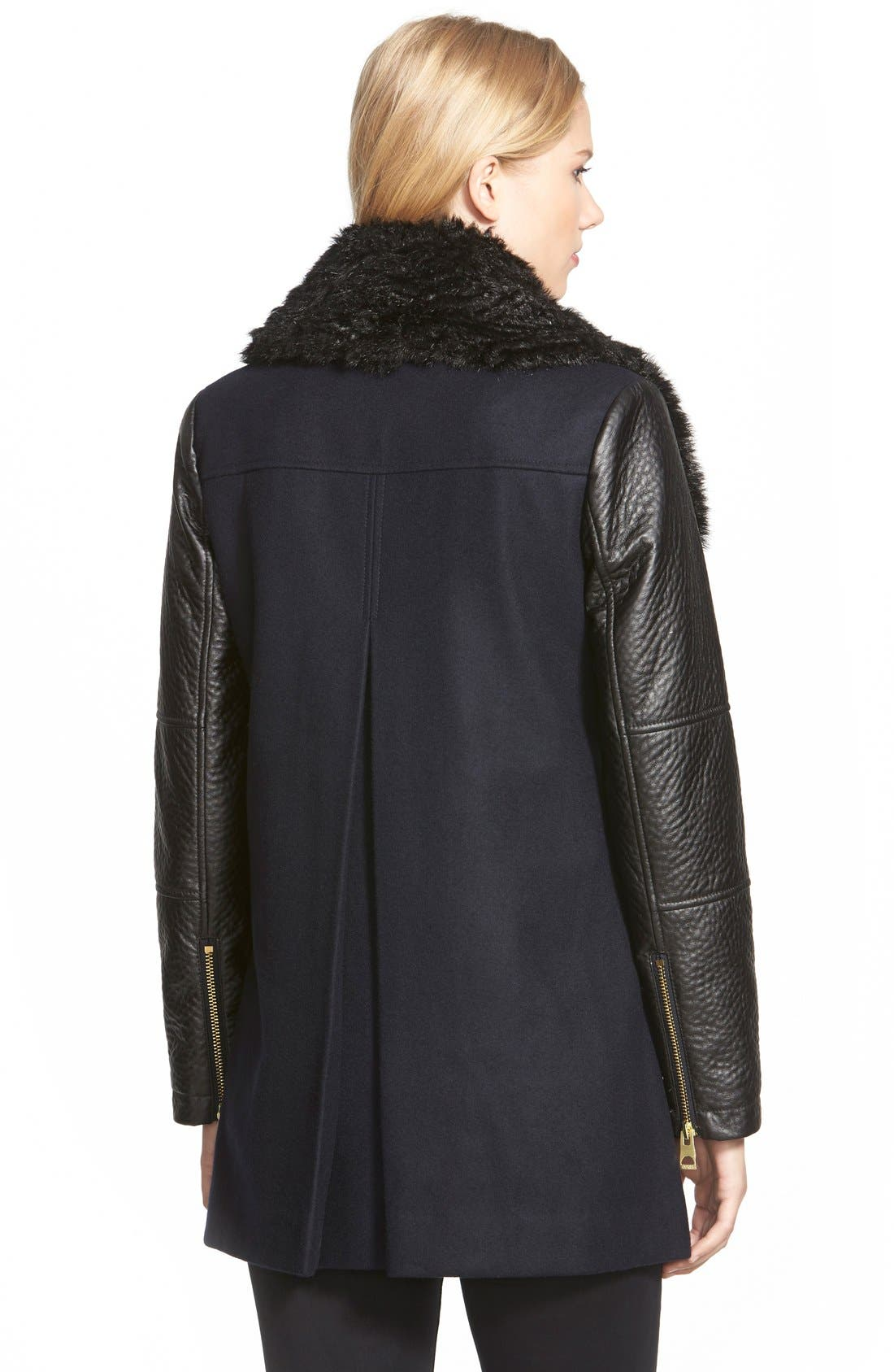 Alternate Image 2  - GUESS Double Breasted Wool Blend Coat with Faux Fur & Faux Leather Trim