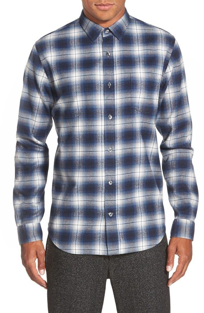 Vince 39 melrose 39 trim fit plaid flannel woven sport shirt for Trim fit flannel shirts