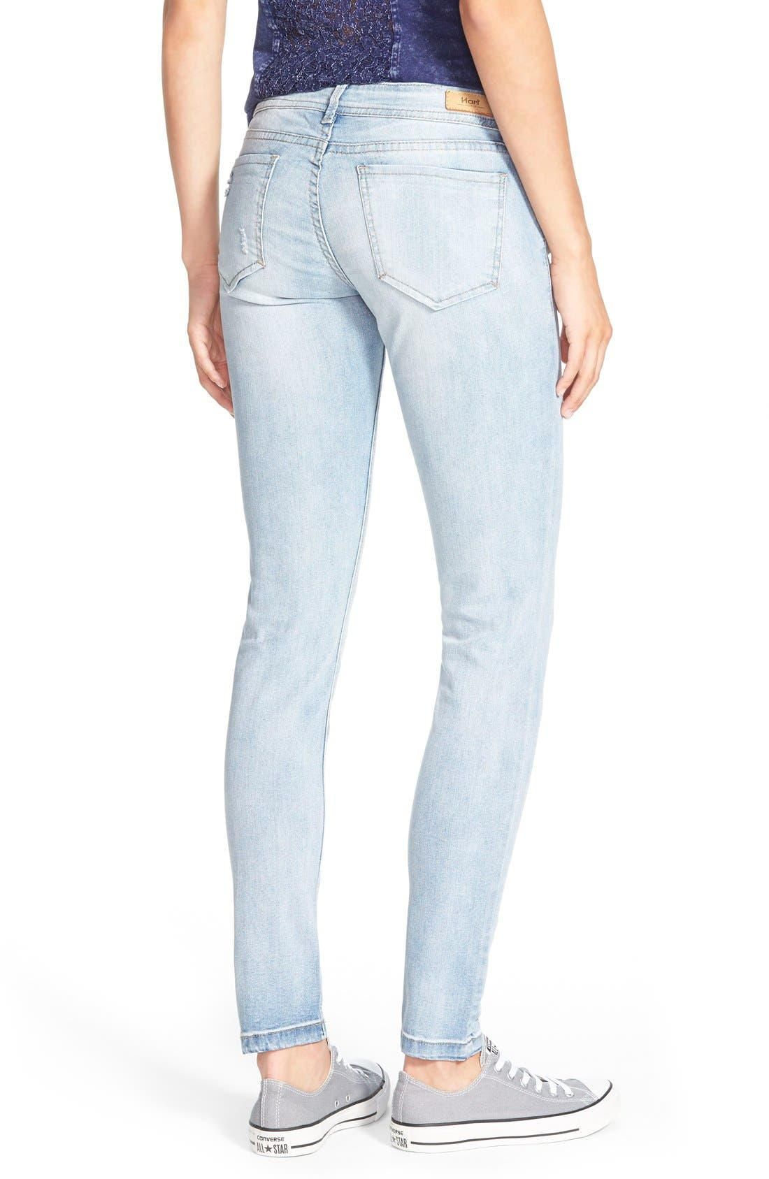 Alternate Image 2  - HART Denim Deconstructed Skinny Jeans (Light)