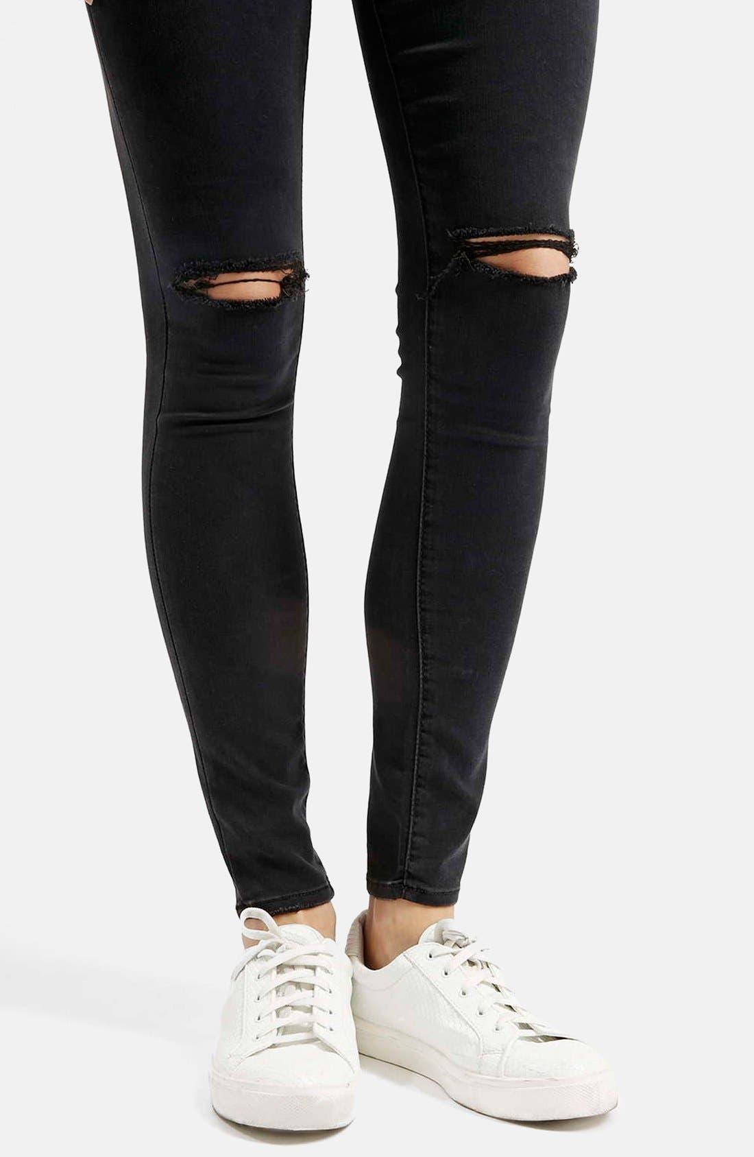 Alternate Image 4  - Topshop Moto 'Leigh' Ripped Skinny Jeans (Short & Regular)